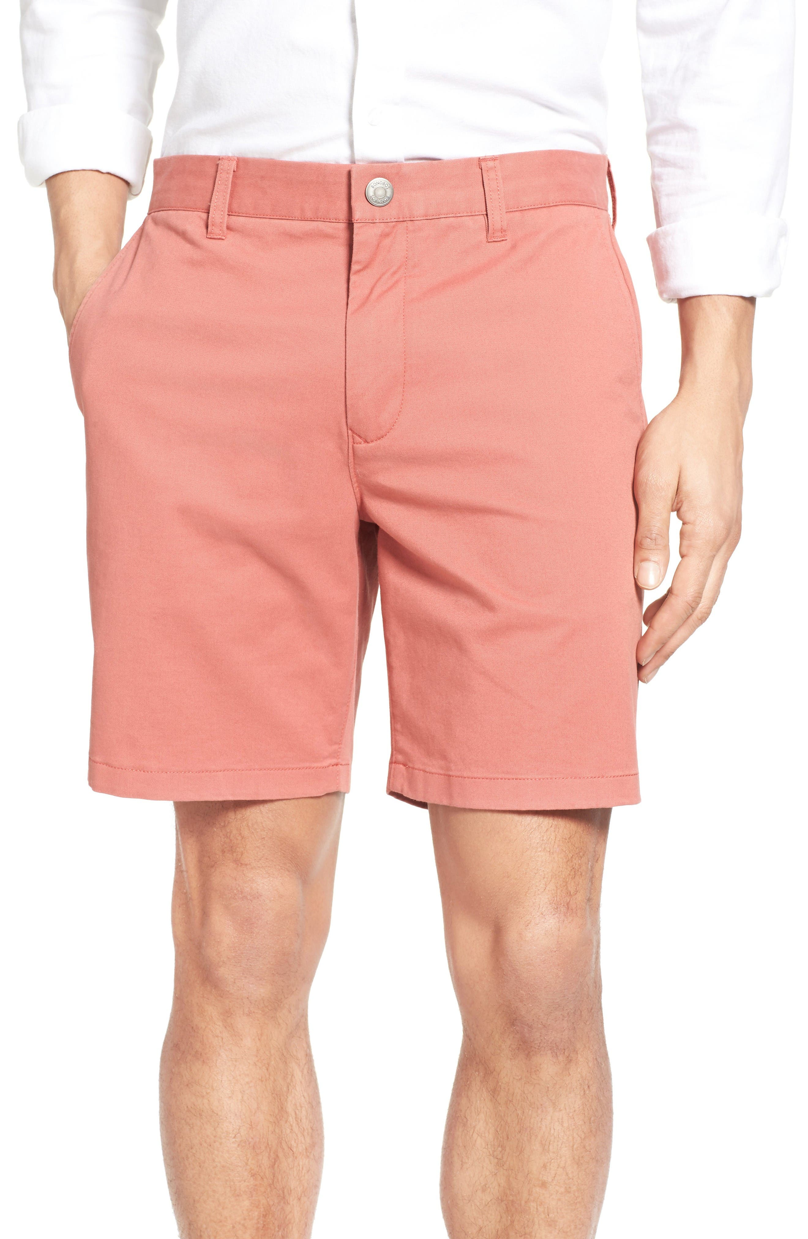 Stretch Washed Chino 7-Inch Shorts,                         Main,                         color, Rich Coral