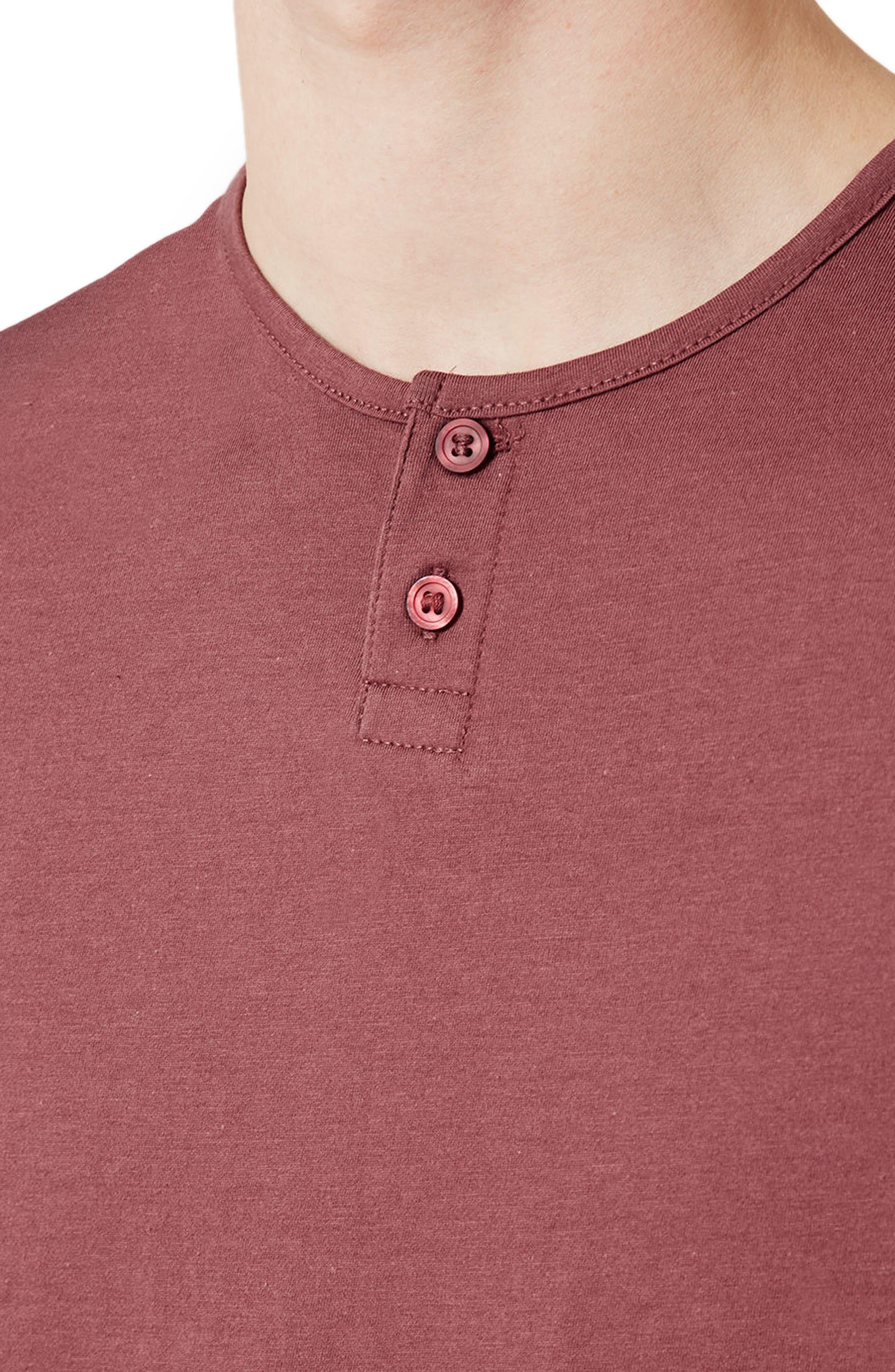 Short Sleeve Henley T-Shirt,                             Alternate thumbnail 4, color,                             Light Red