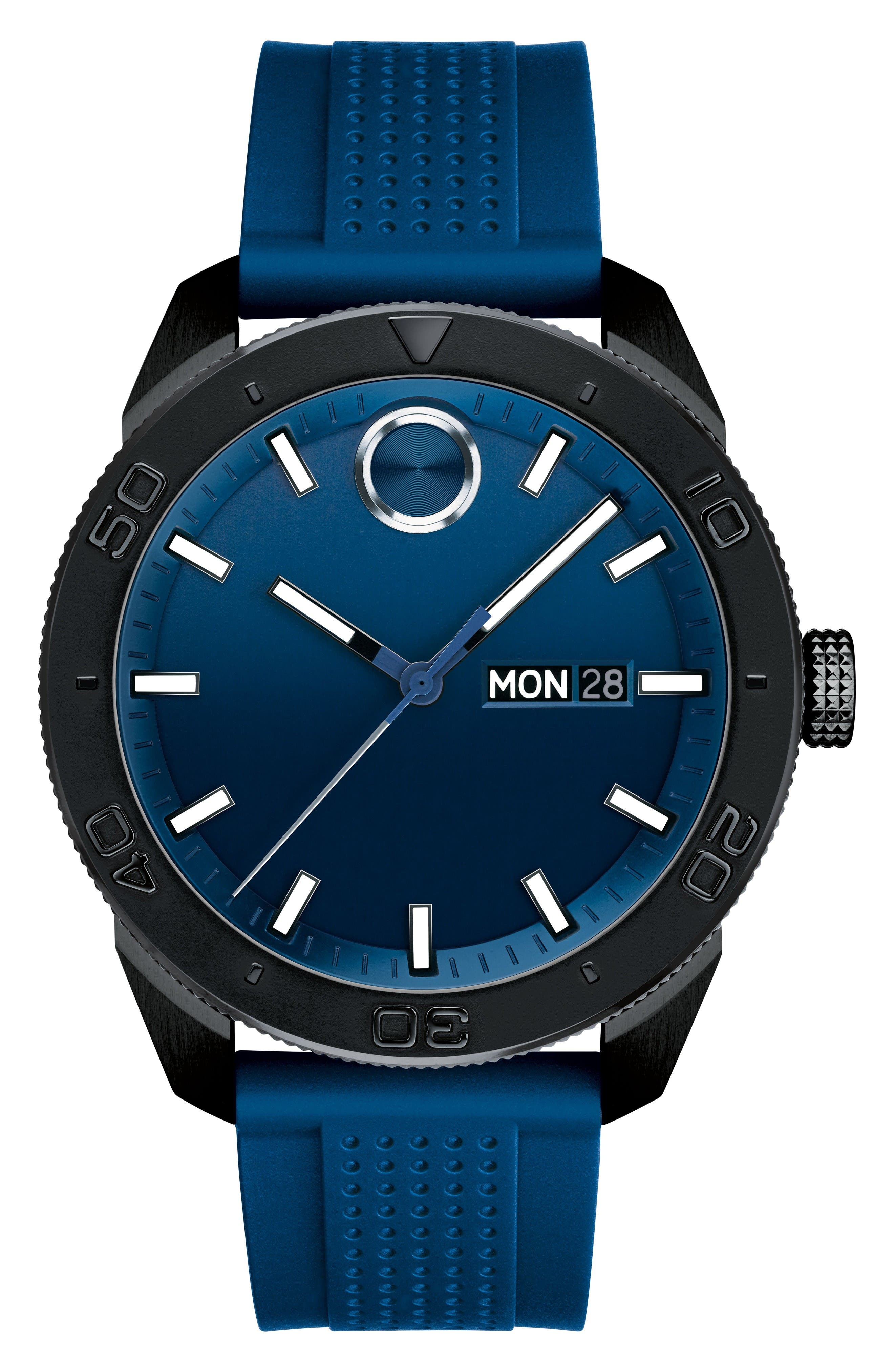 Bold Sport Silicone Strap Watch, 43mm,                         Main,                         color, Blue/ Black