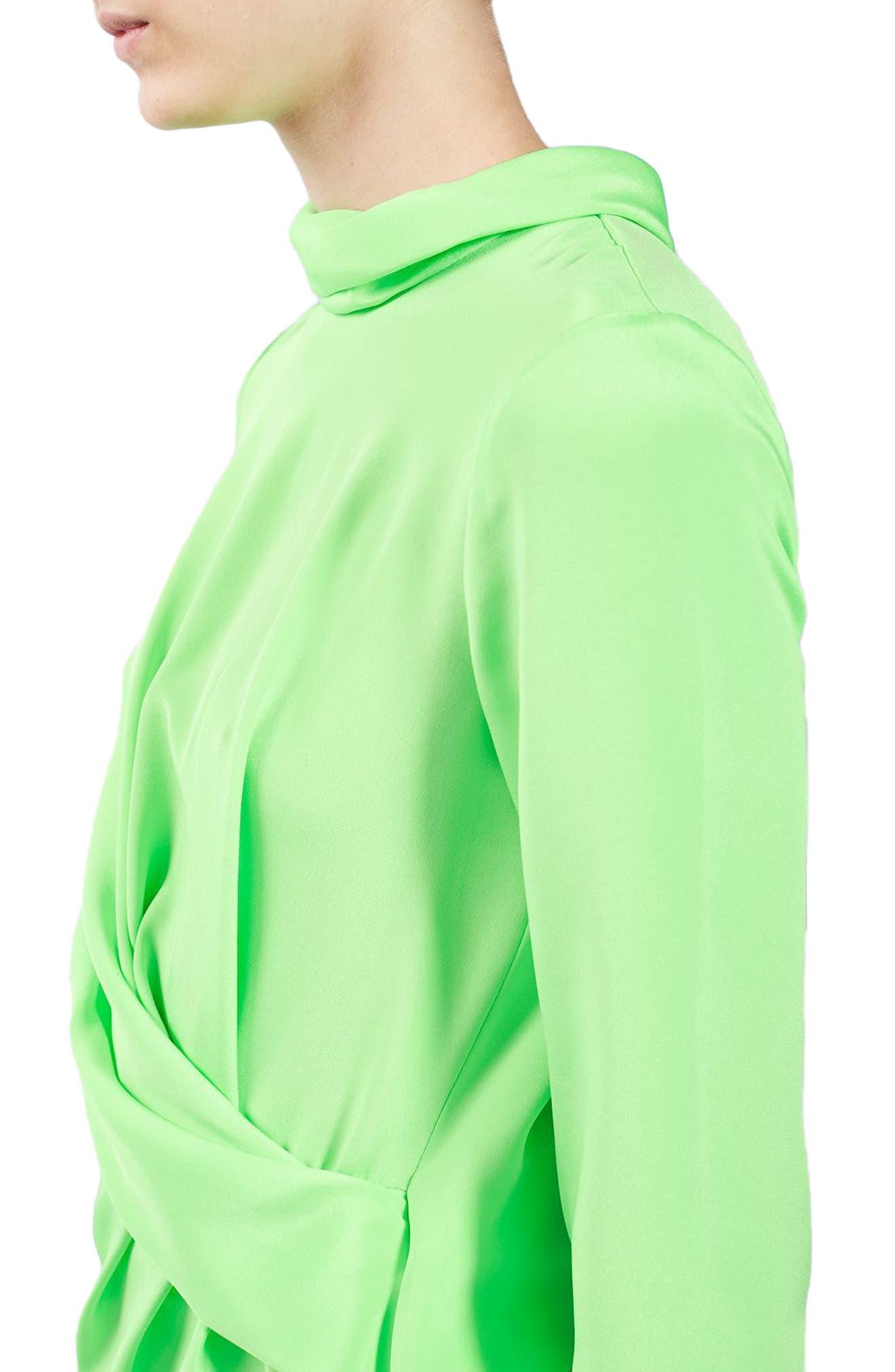 Twist Cutout Silk Top,                             Alternate thumbnail 3, color,                             Bright Green