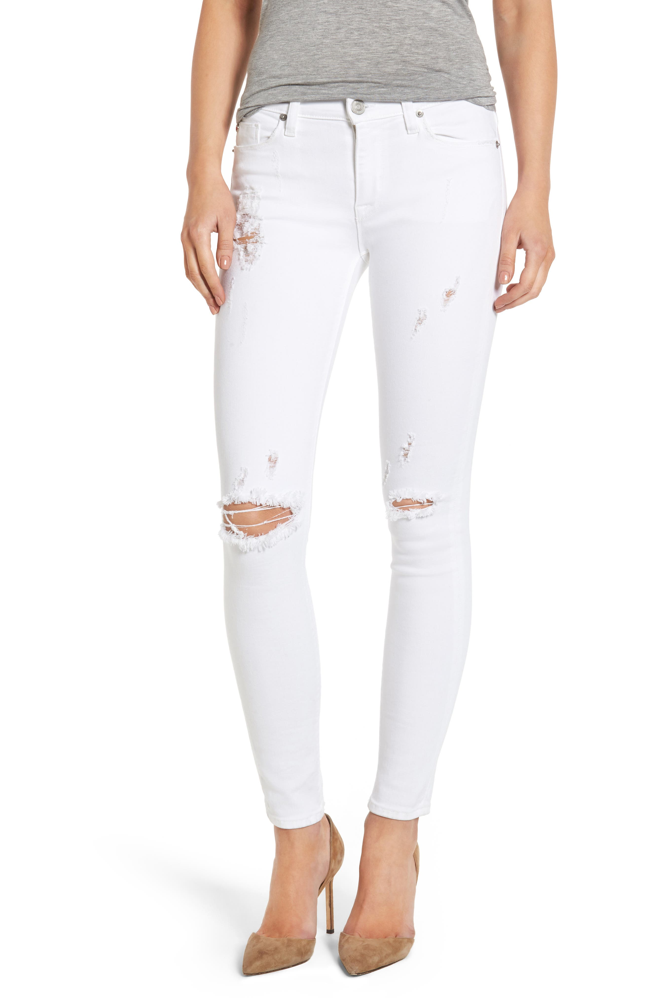 Main Image - Hudson Nico Ripped Ankle Super Skinny Jeans (Strife)