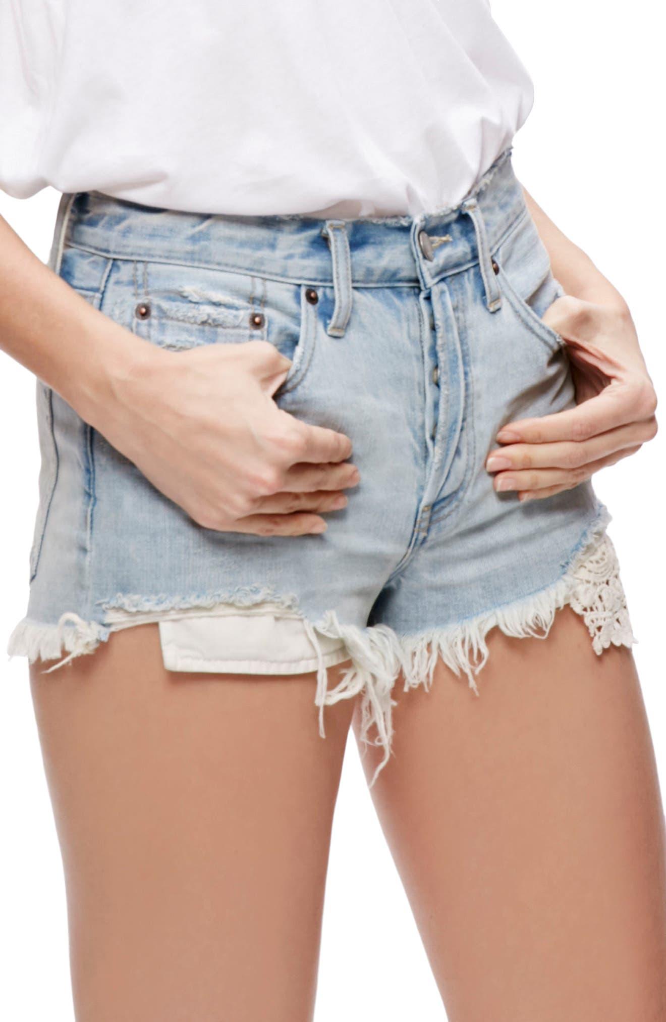 Alternate Image 1 Selected - Free People Daisy Chain Cutoff Denim Shorts