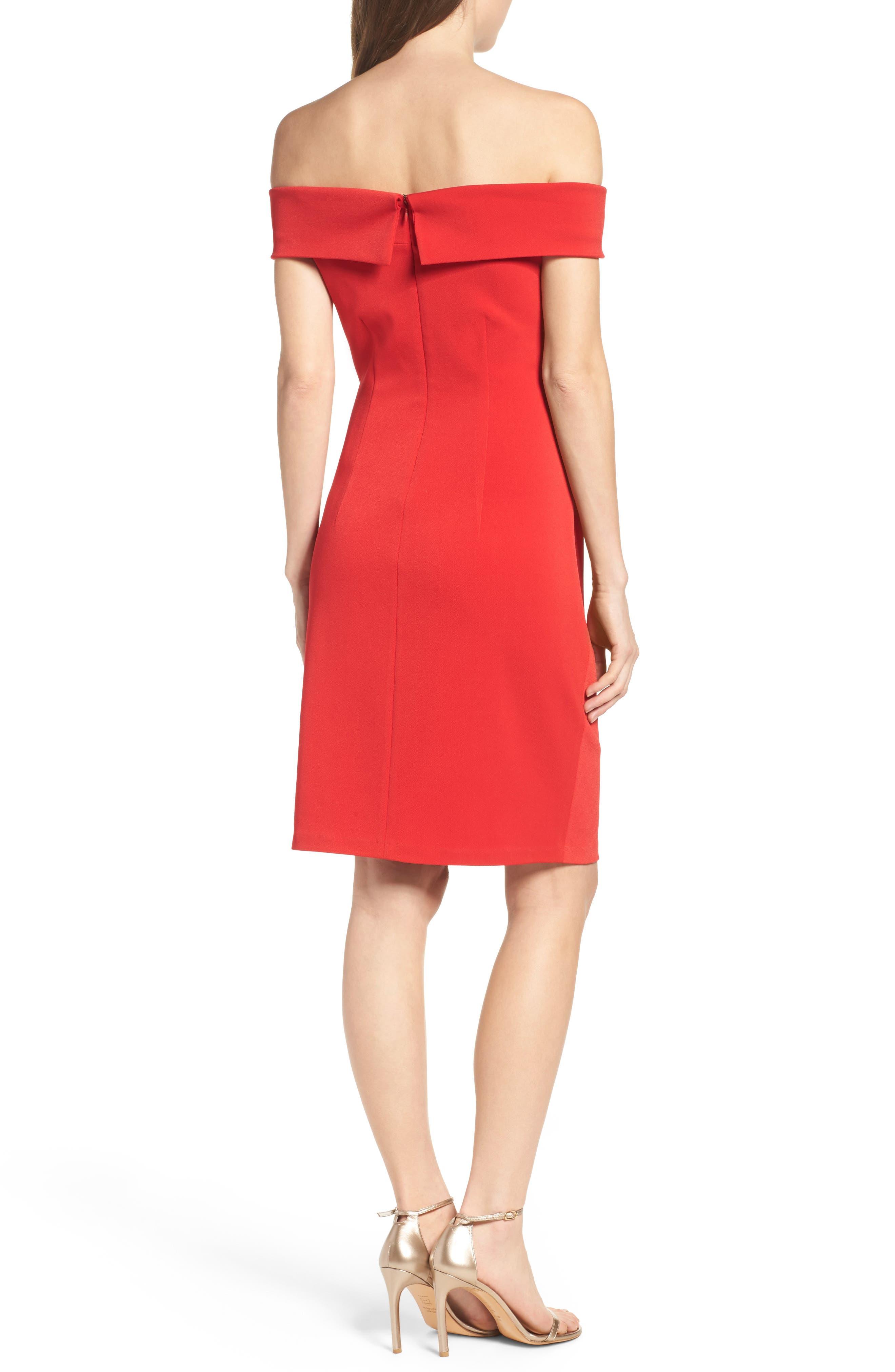 Off the Shoulder Crepe Sheath Dress,                             Alternate thumbnail 3, color,                             Red