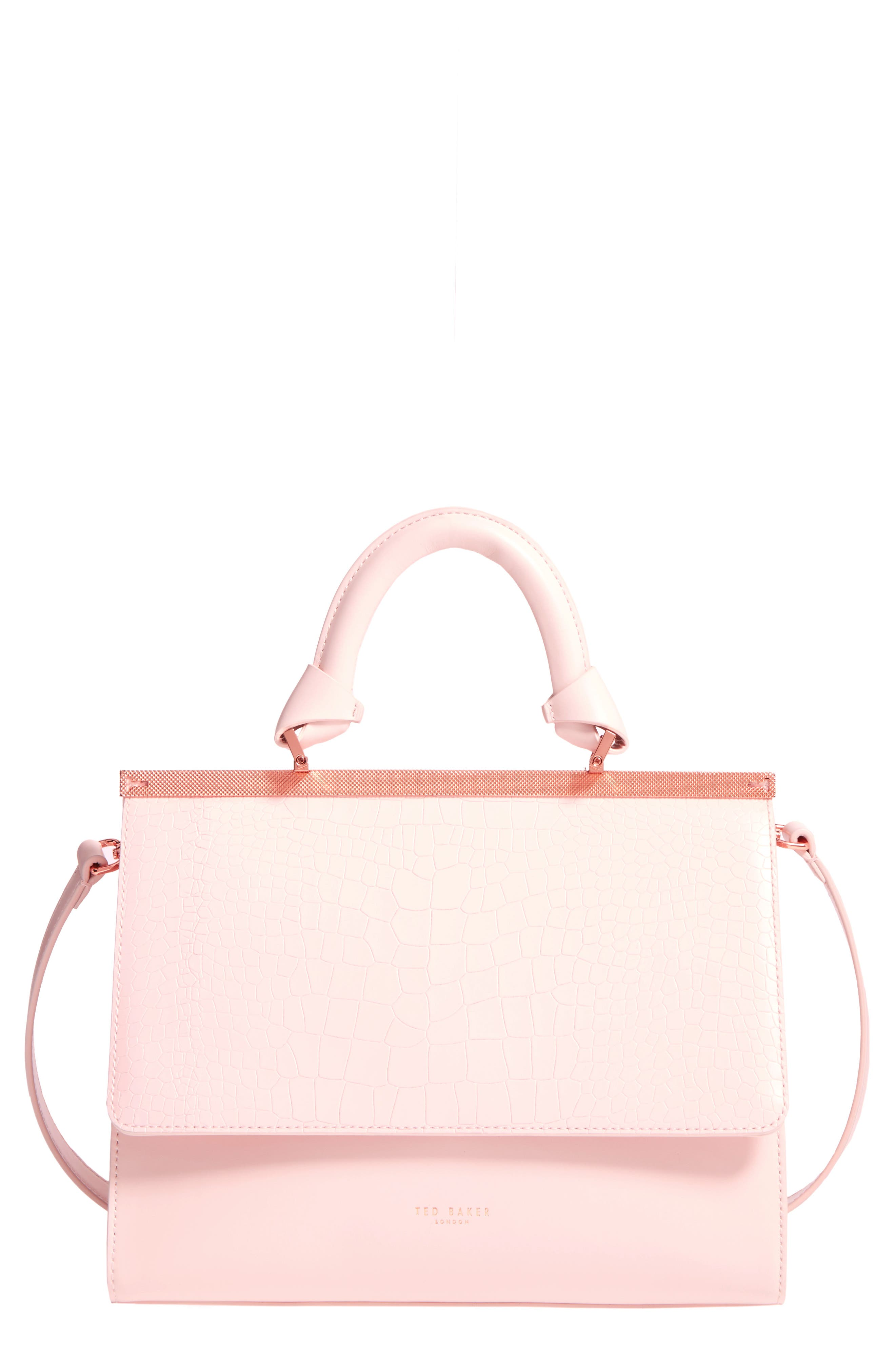 Croc Embossed Leather Satchel,                             Main thumbnail 1, color,                             Baby Pink