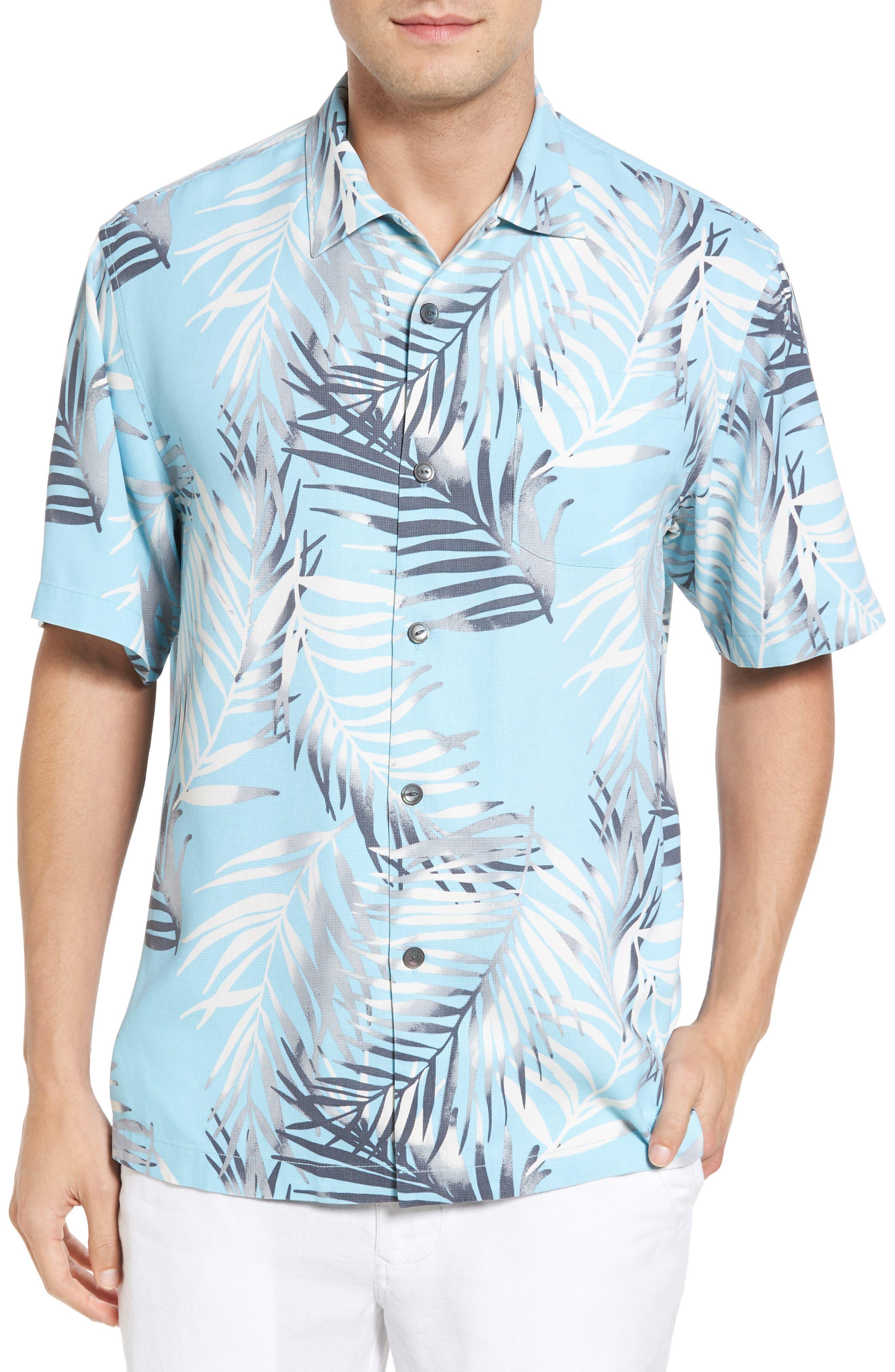 Beyond Frond Silk Camp Shirt,                         Main,                         color, Graceful Sea