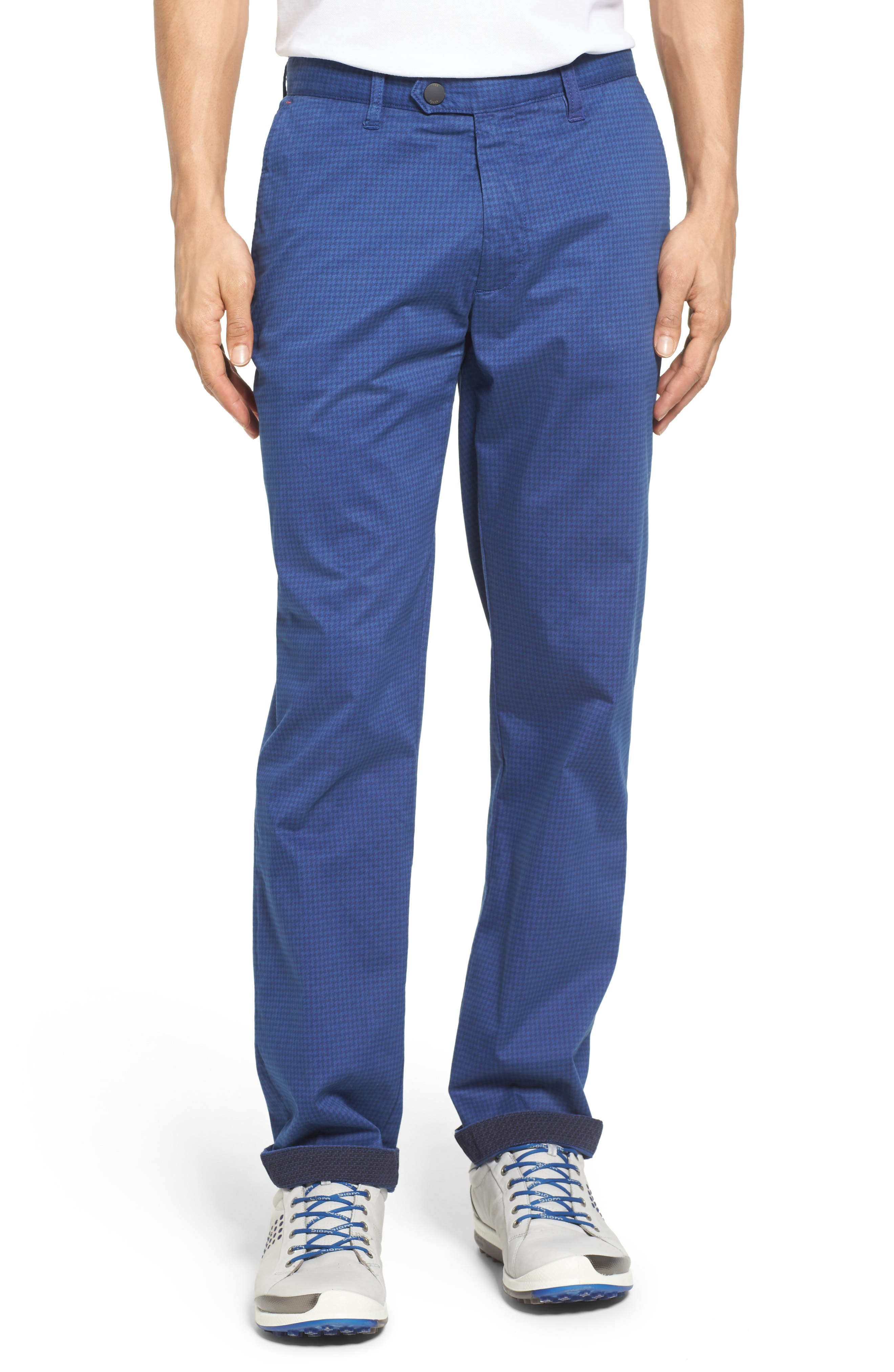 Houndstooth Print Golf Chinos,                         Main,                         color, Blue