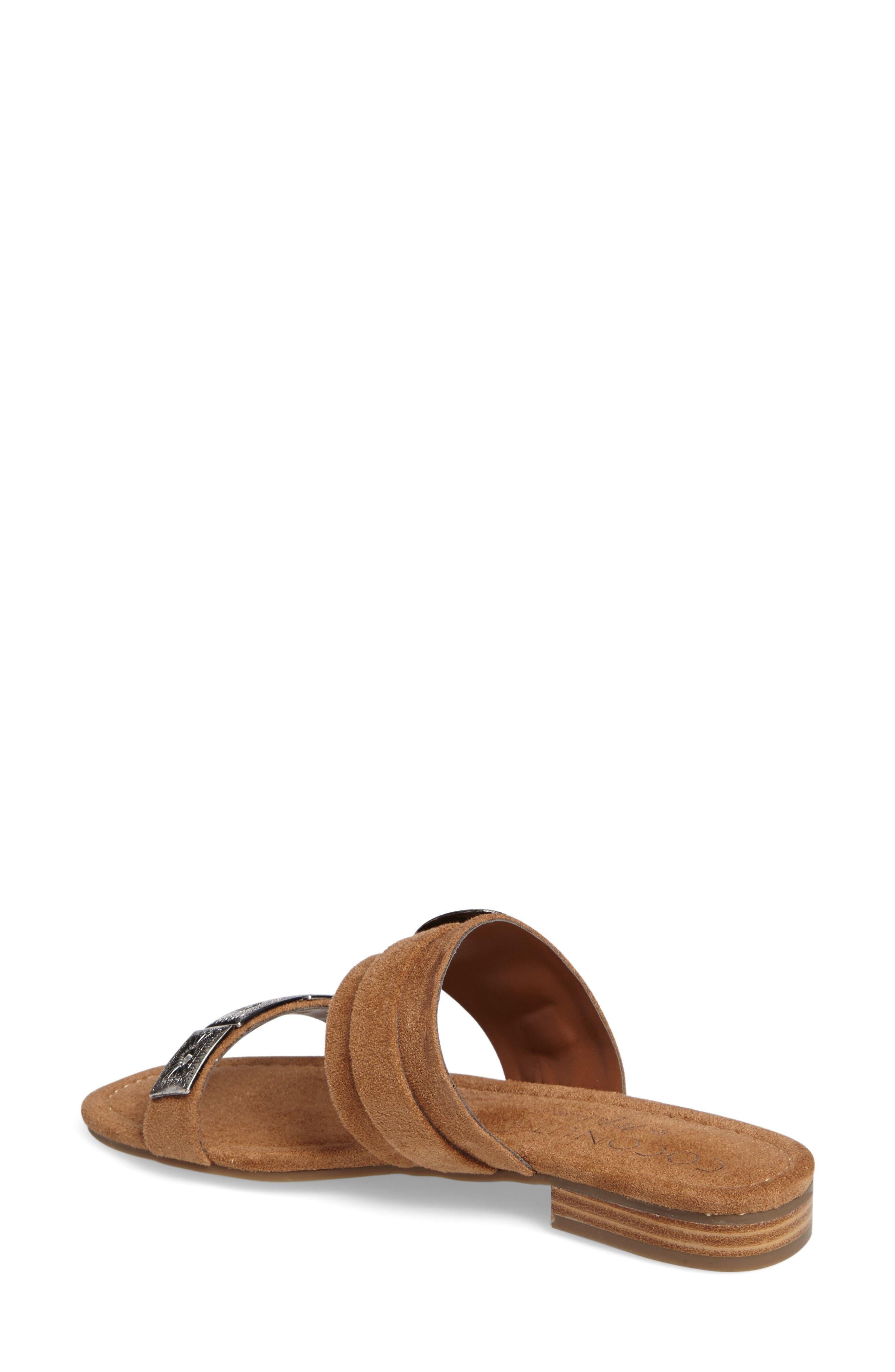 Brantley Buckle Slide Sandal,                             Alternate thumbnail 2, color,                             Saddle Suede