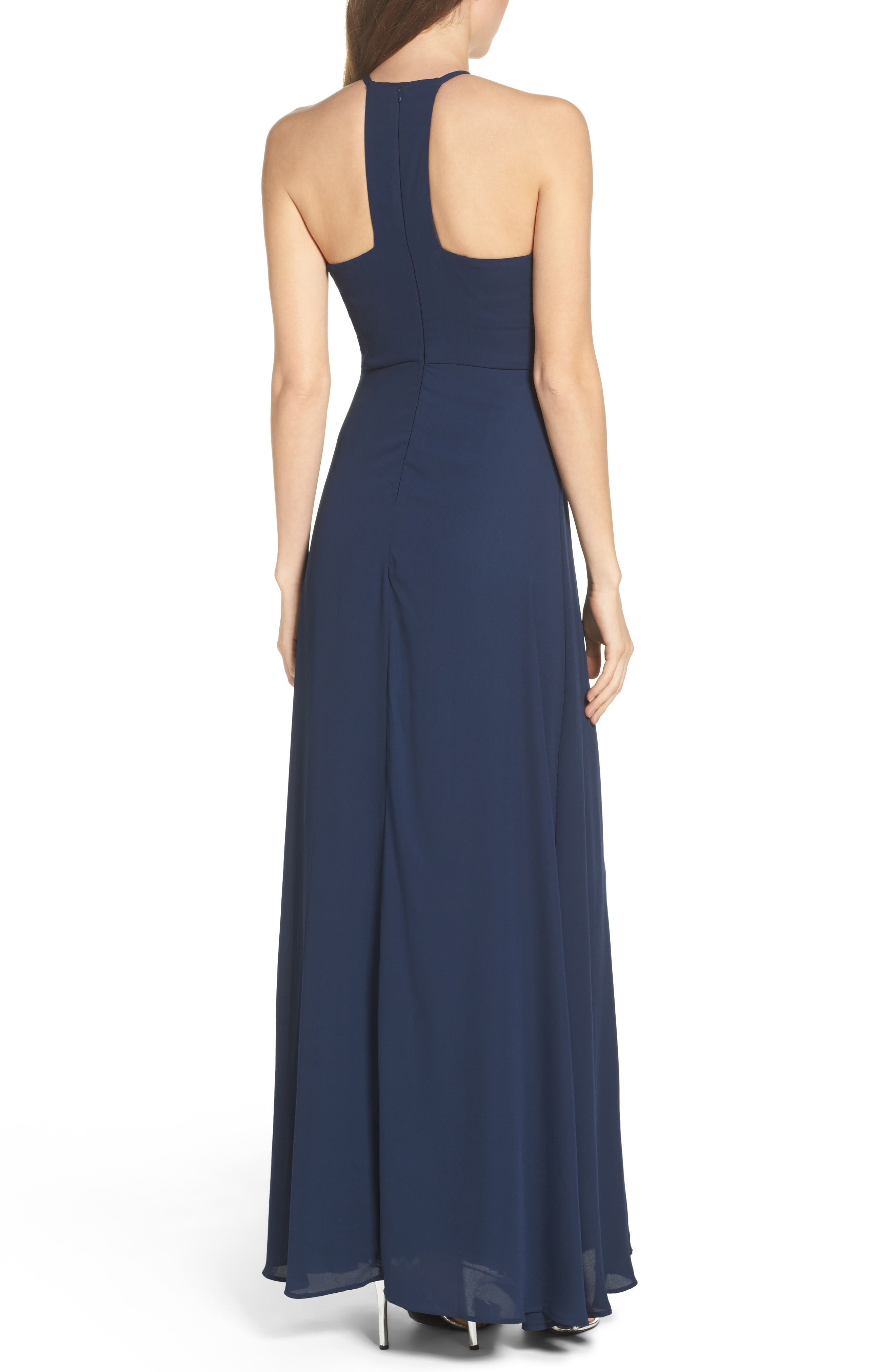 Halter A-Line Chiffon Gown,                             Alternate thumbnail 2, color,                             Navy