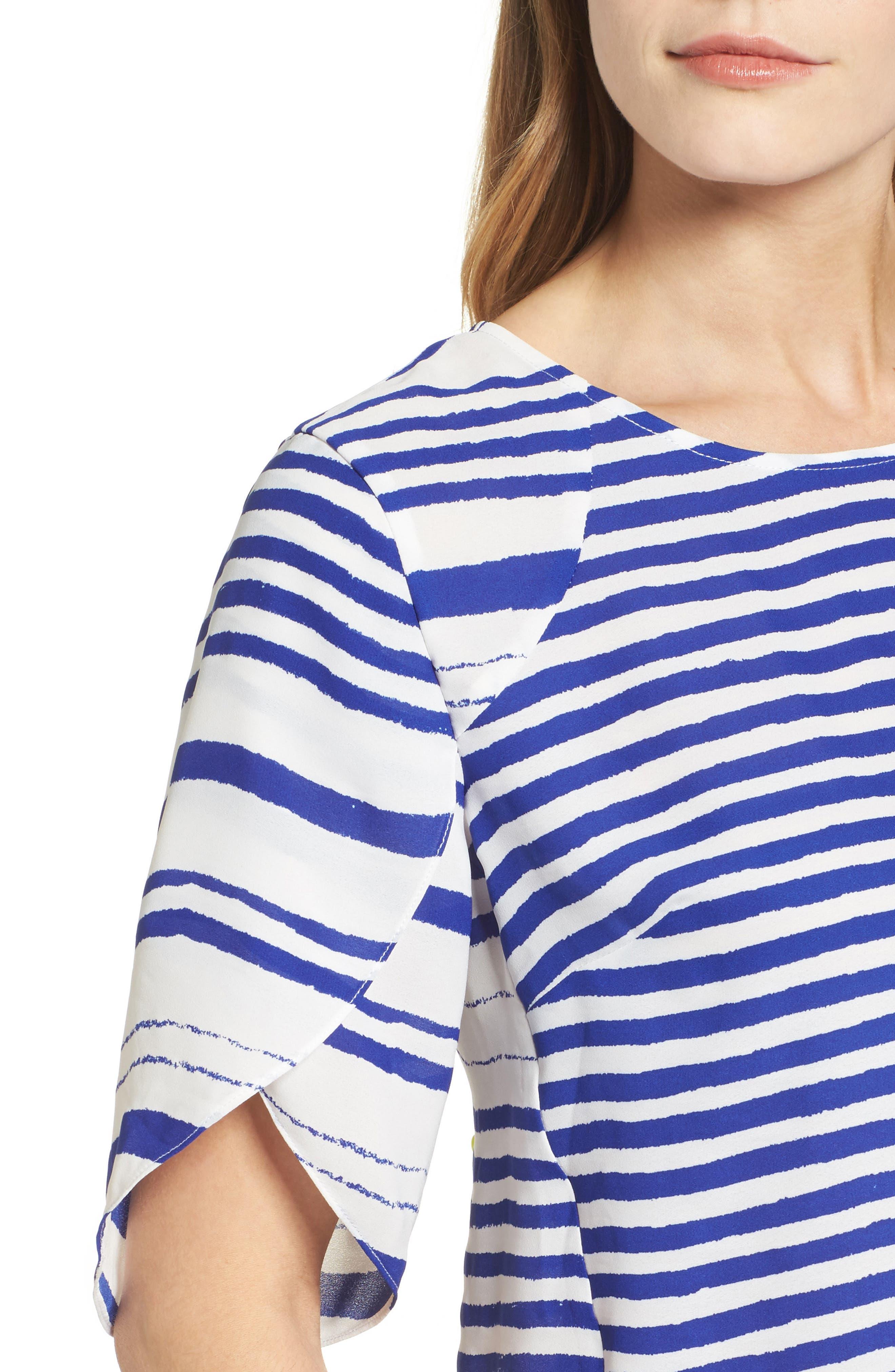 Tulip Sleeve Stripe Blouse,                             Alternate thumbnail 4, color,                             Regatta Blue