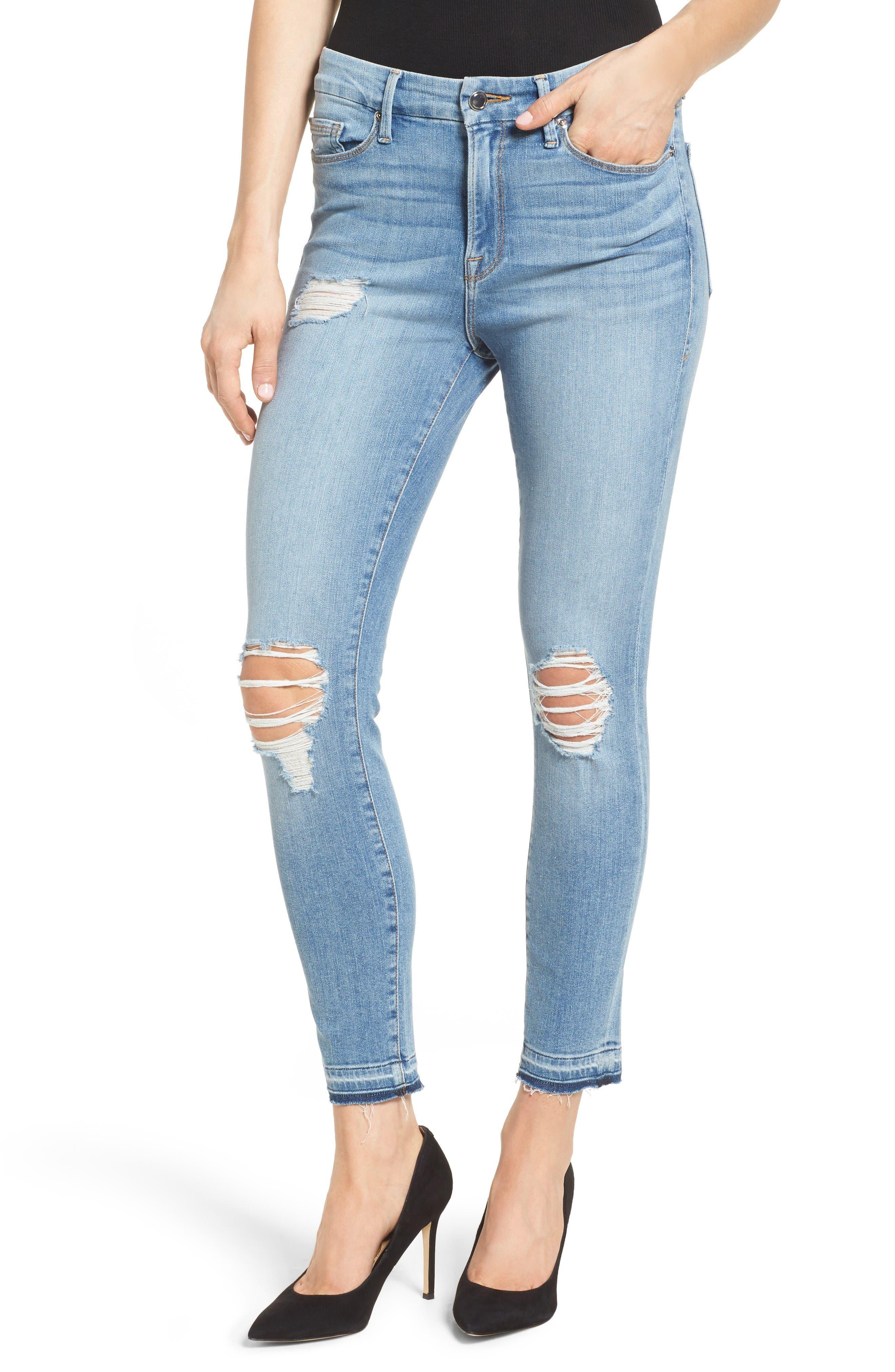 Good Legs Released Hem Skinny Jeans,                             Alternate thumbnail 6, color,                             Blue 023