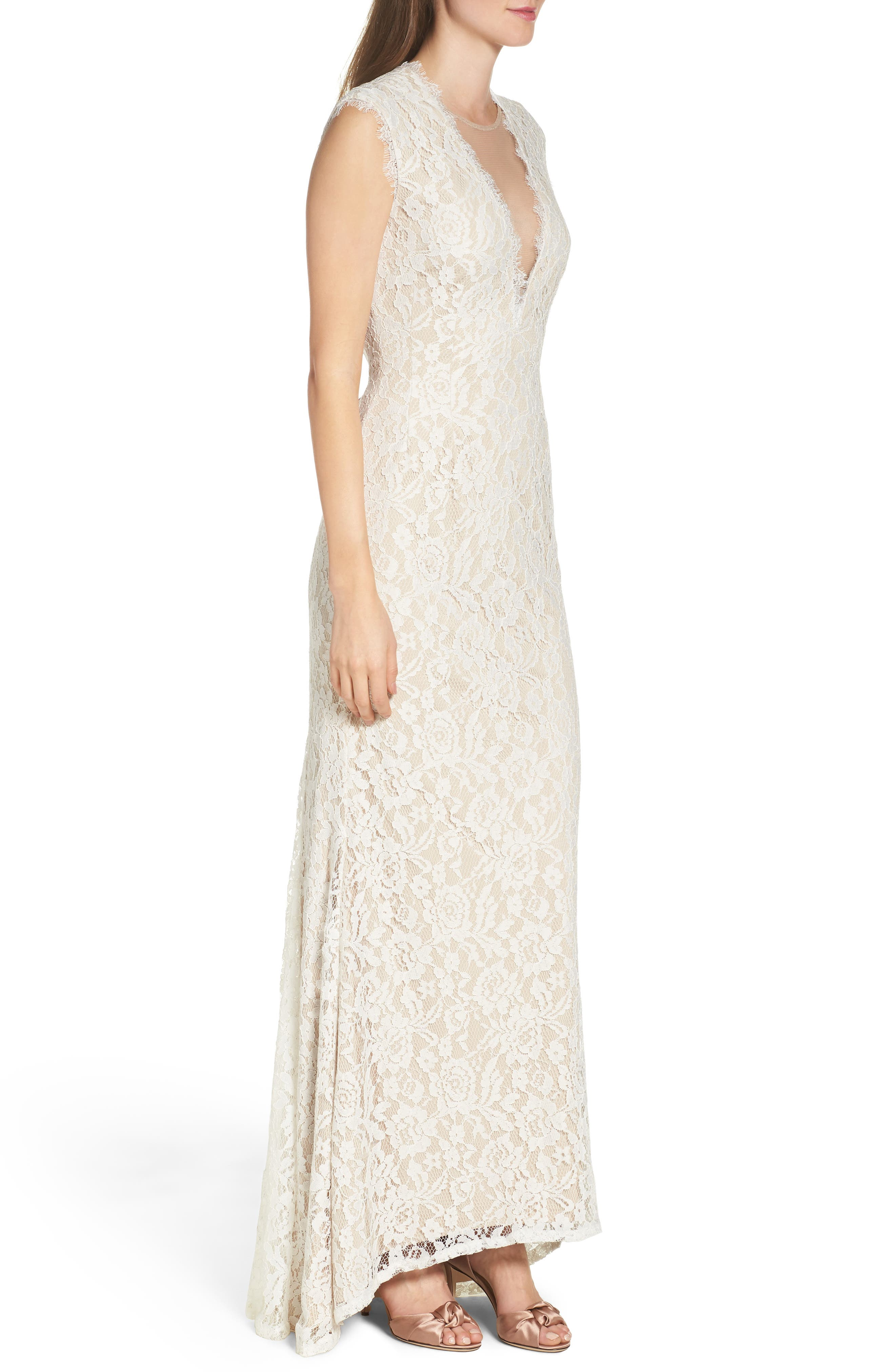 Alternate Image 3  - Aidan by Aidan Mattox Illusion Lace Column Gown
