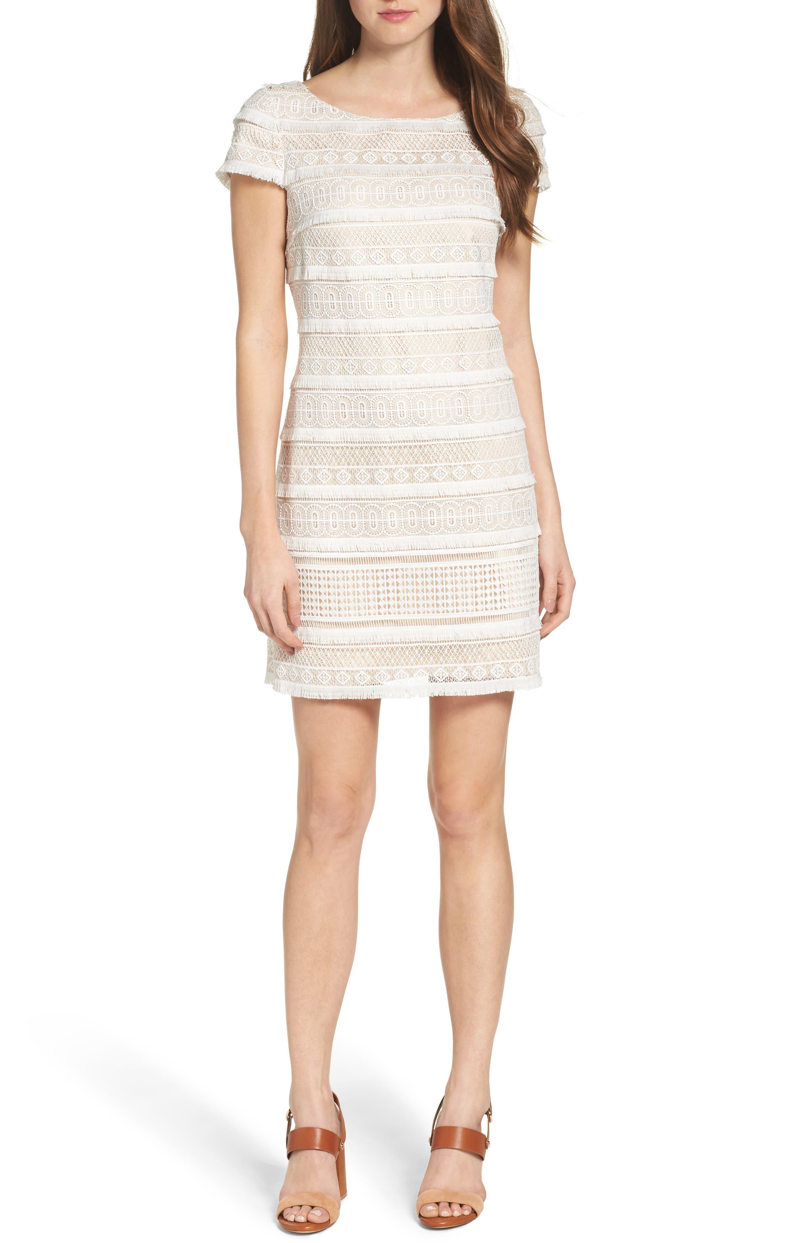 Lace Shift Dress,                             Alternate thumbnail 5, color,                             Ivory