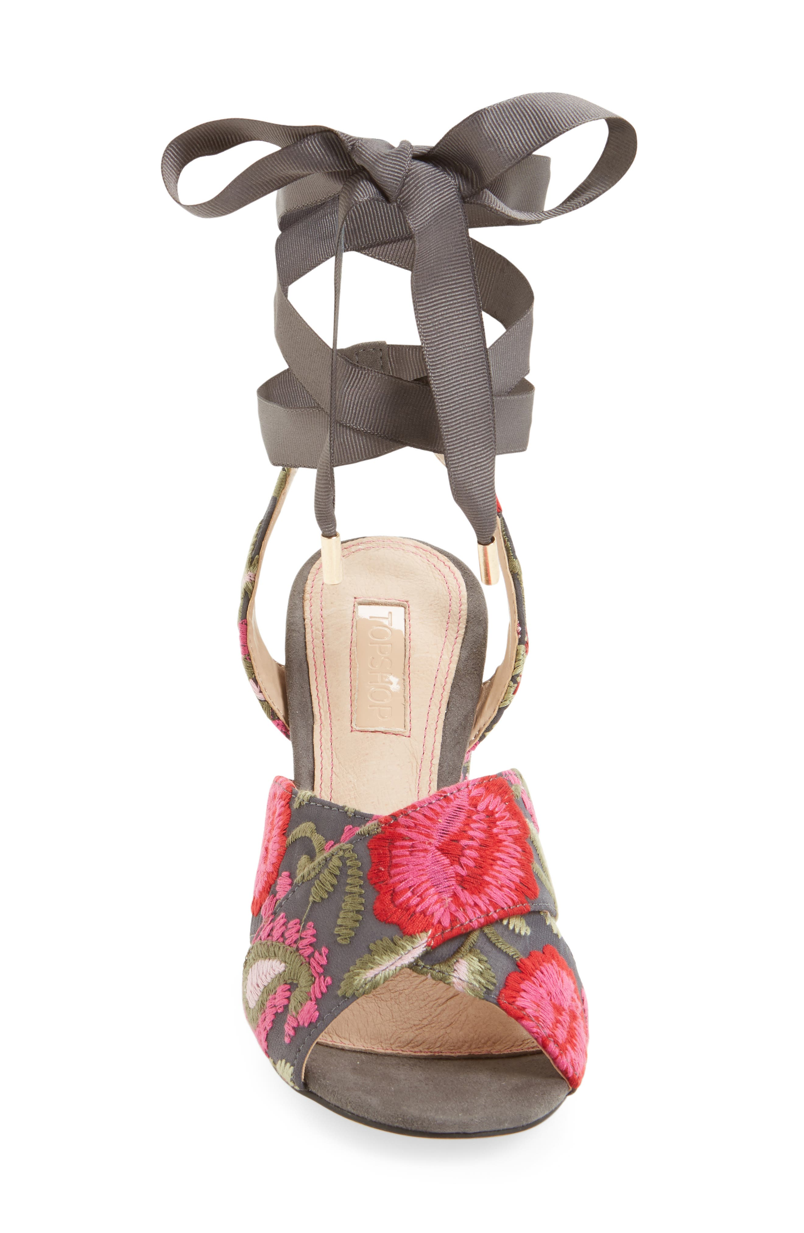 Reena Embroidered Sandal,                             Alternate thumbnail 3, color,                             Pink Multi