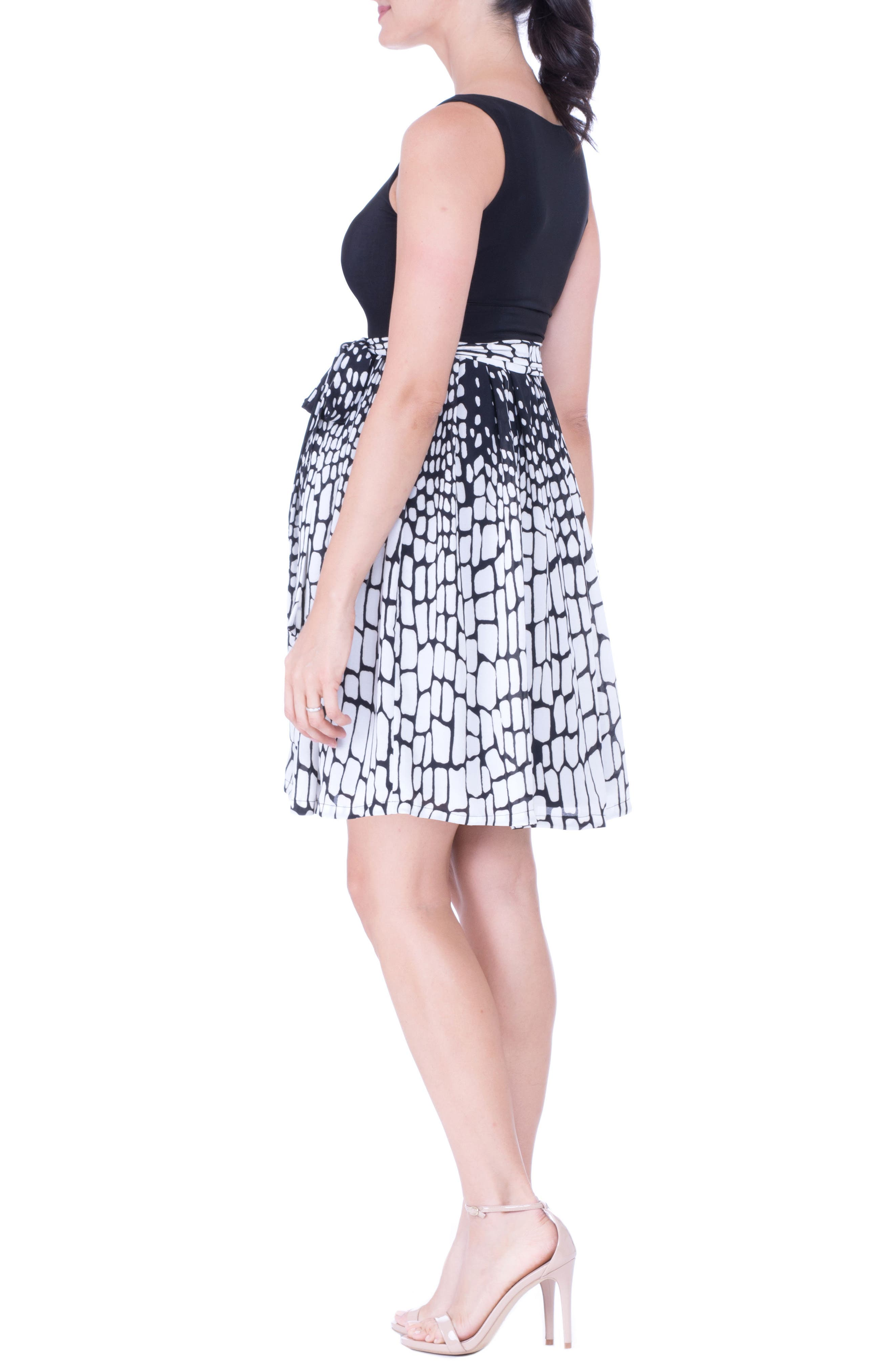 Print Maternity Dress,                             Alternate thumbnail 4, color,                             Black/ White