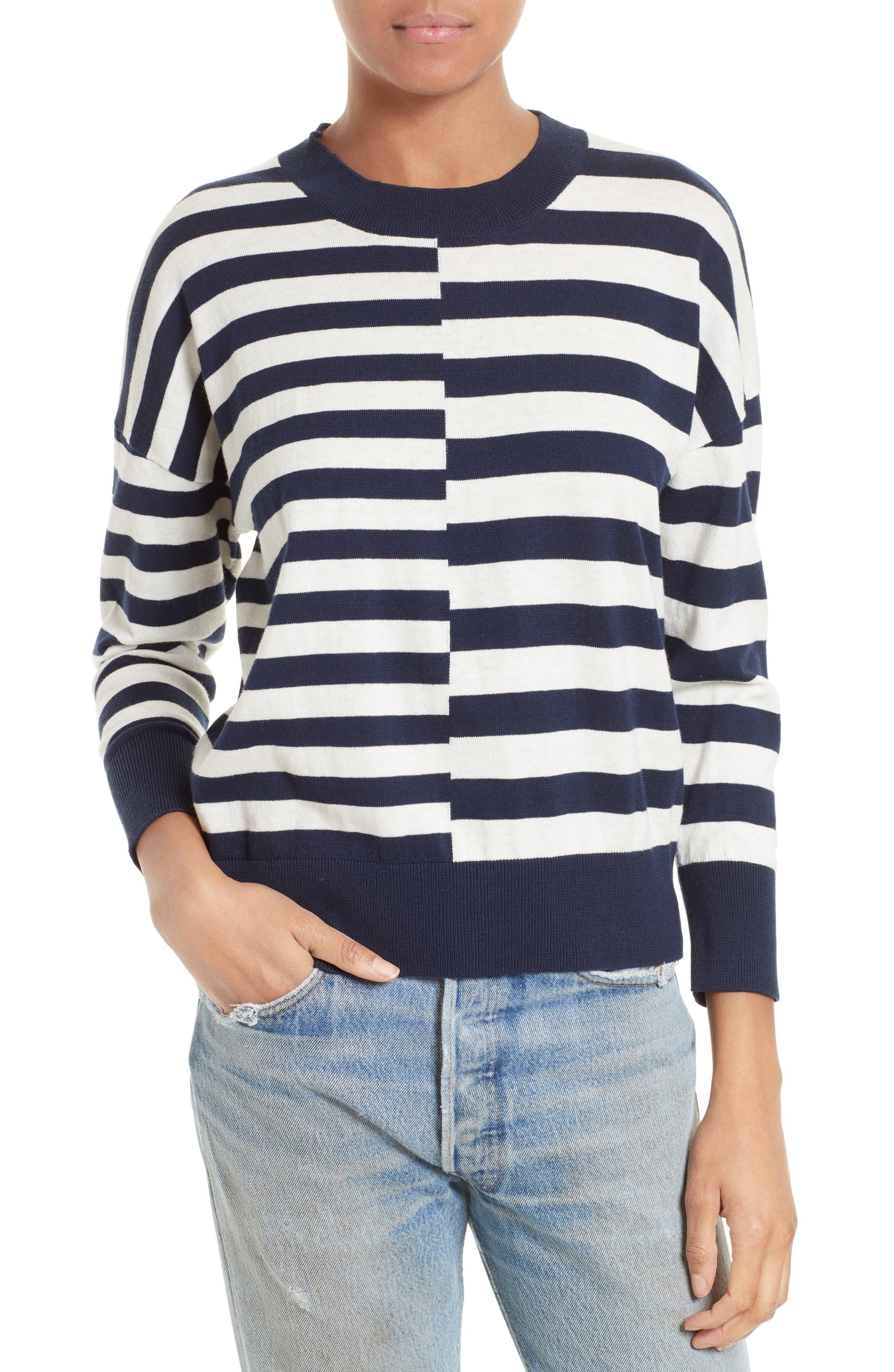 Alternate Image 1 Selected - Equipment Melanie Stripe Cotton & Silk Sweater