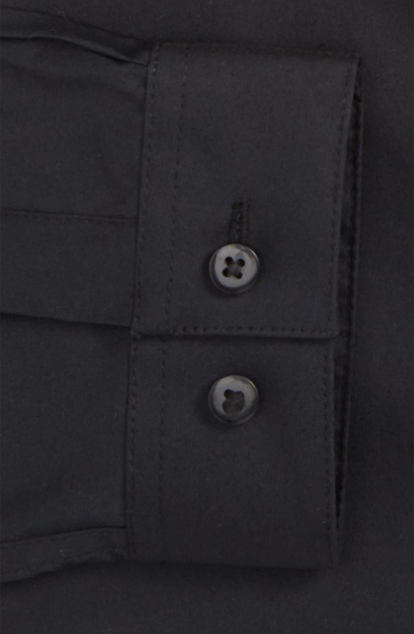Skinny Fit Stretch Dress Shirt,                             Alternate thumbnail 4, color,                             Black