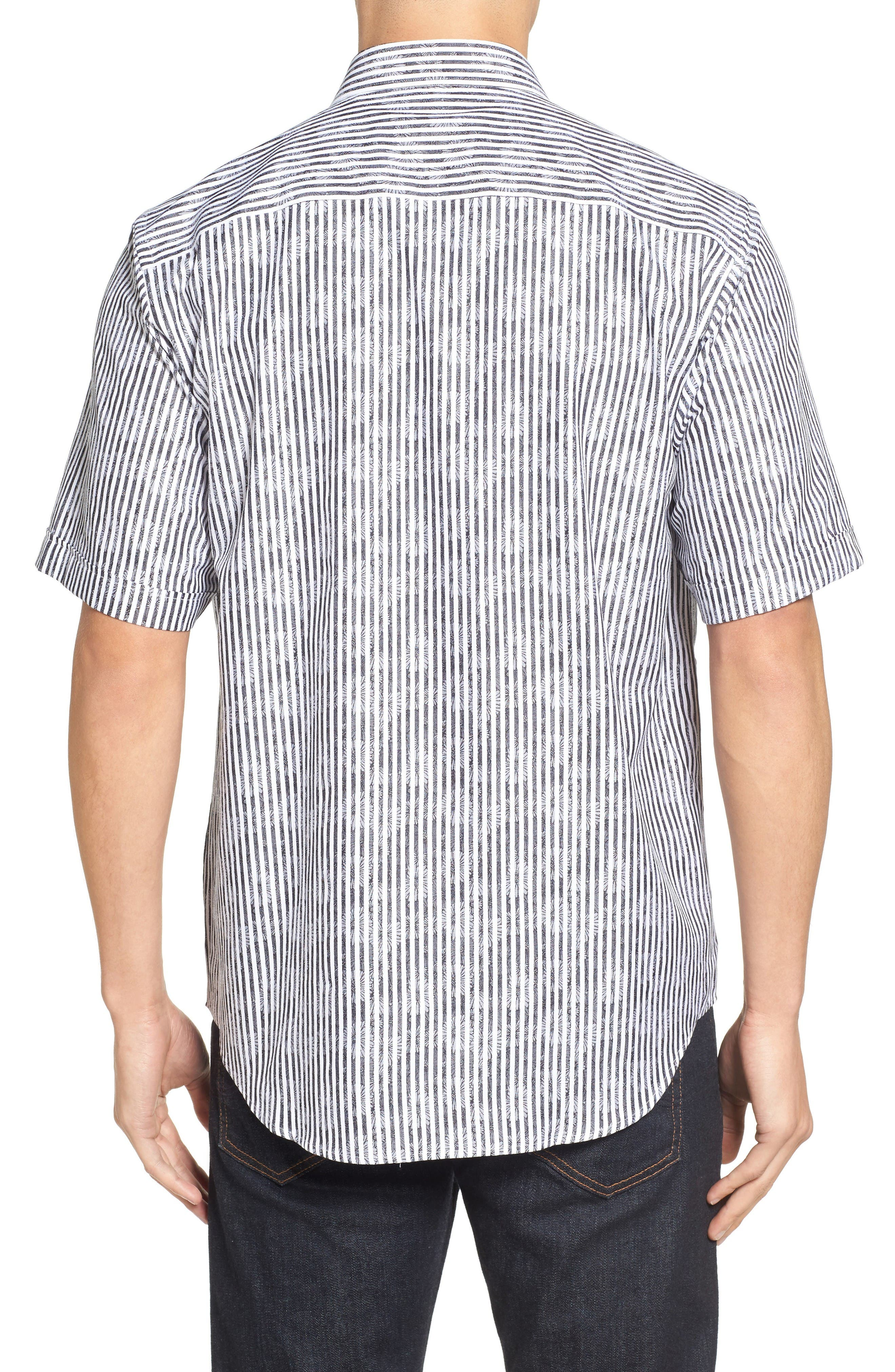 Alternate Image 2  - Bugatchi Classic Fit Floral Stripe Sport Shirt