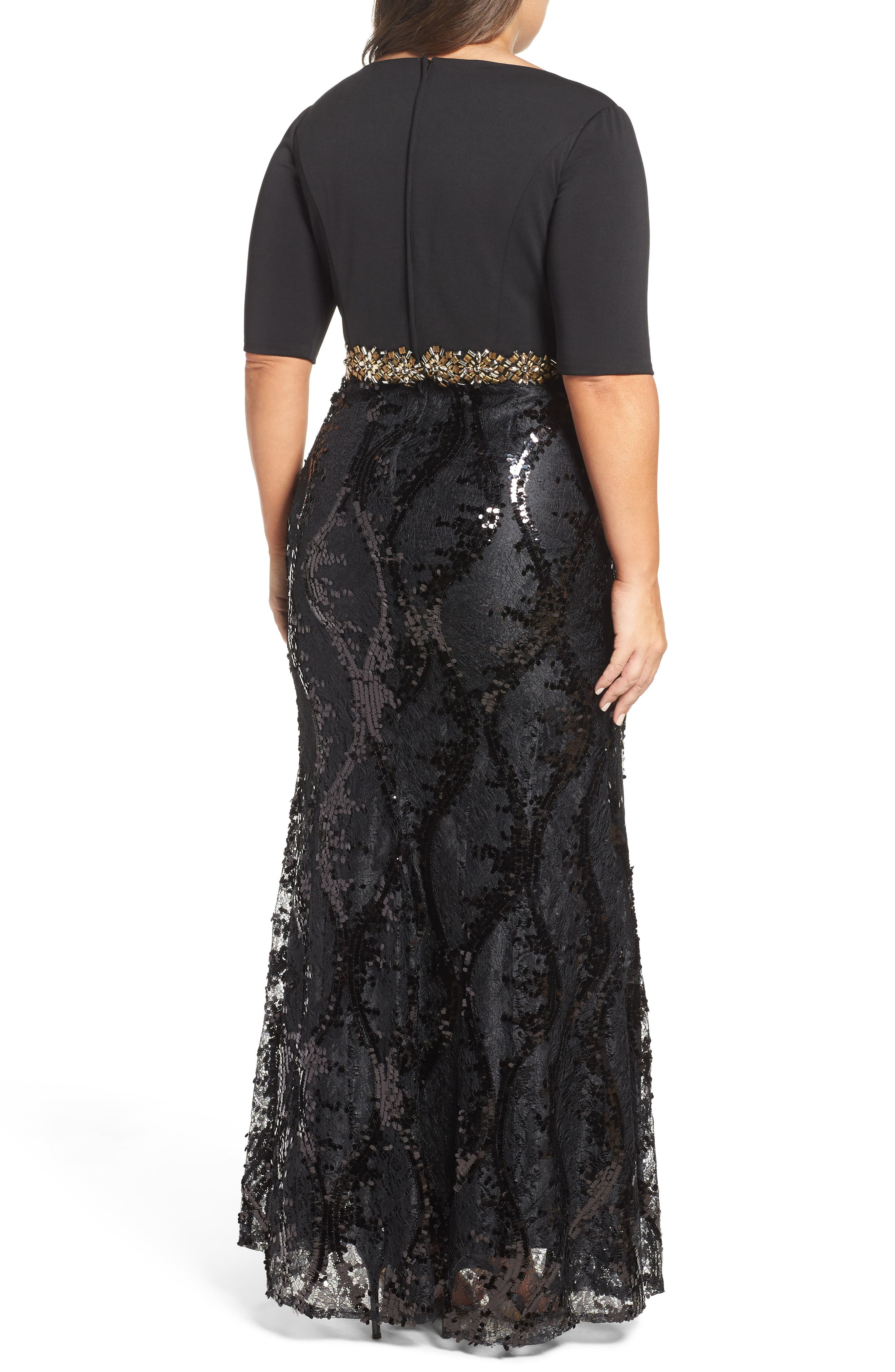 Embellished Mixed Media Gown,                             Alternate thumbnail 2, color,                             Black