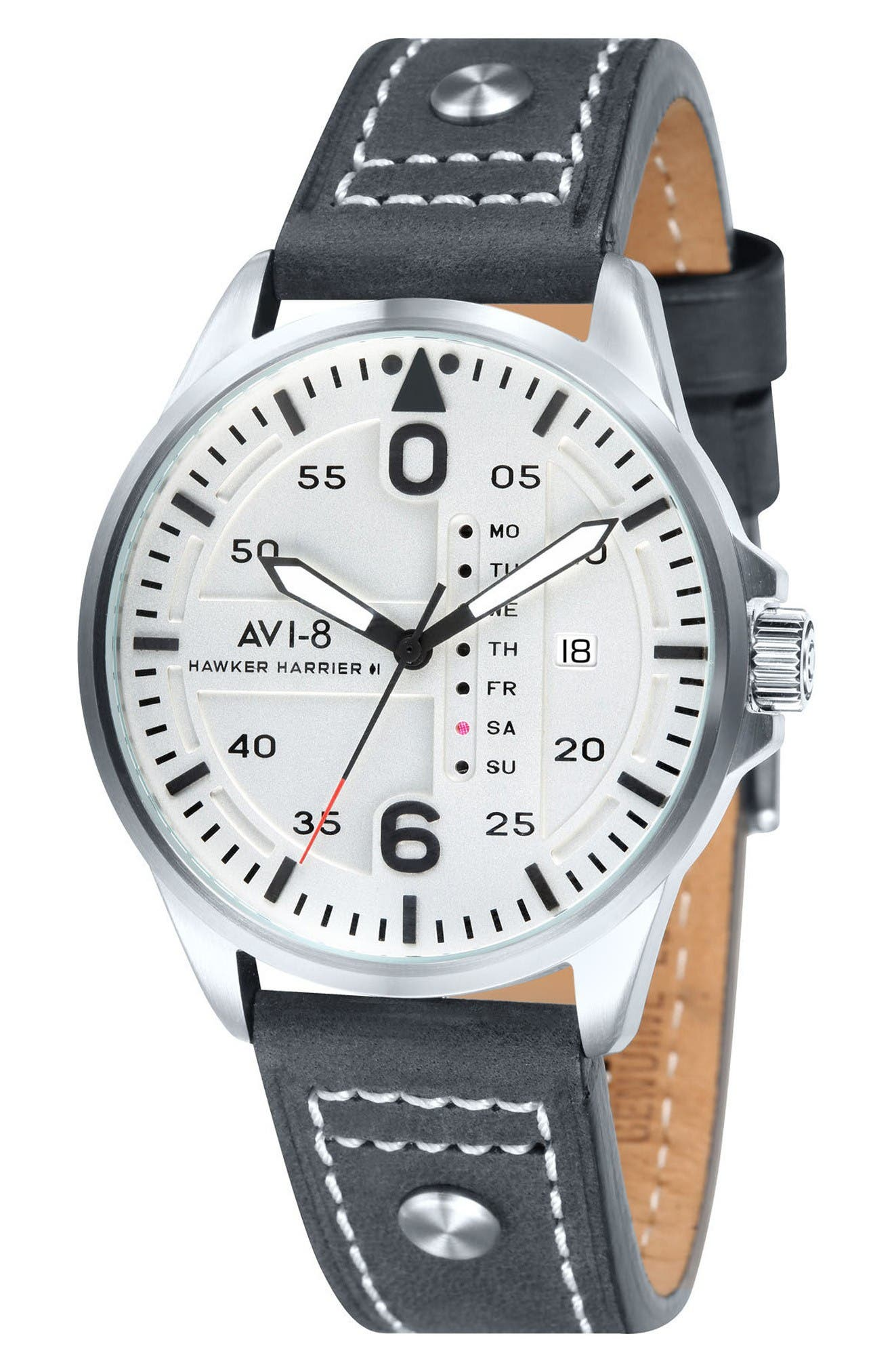 Hawker Harrier II Leather Strap Watch, 45mm,                             Main thumbnail 1, color,                             White/ Charcoal