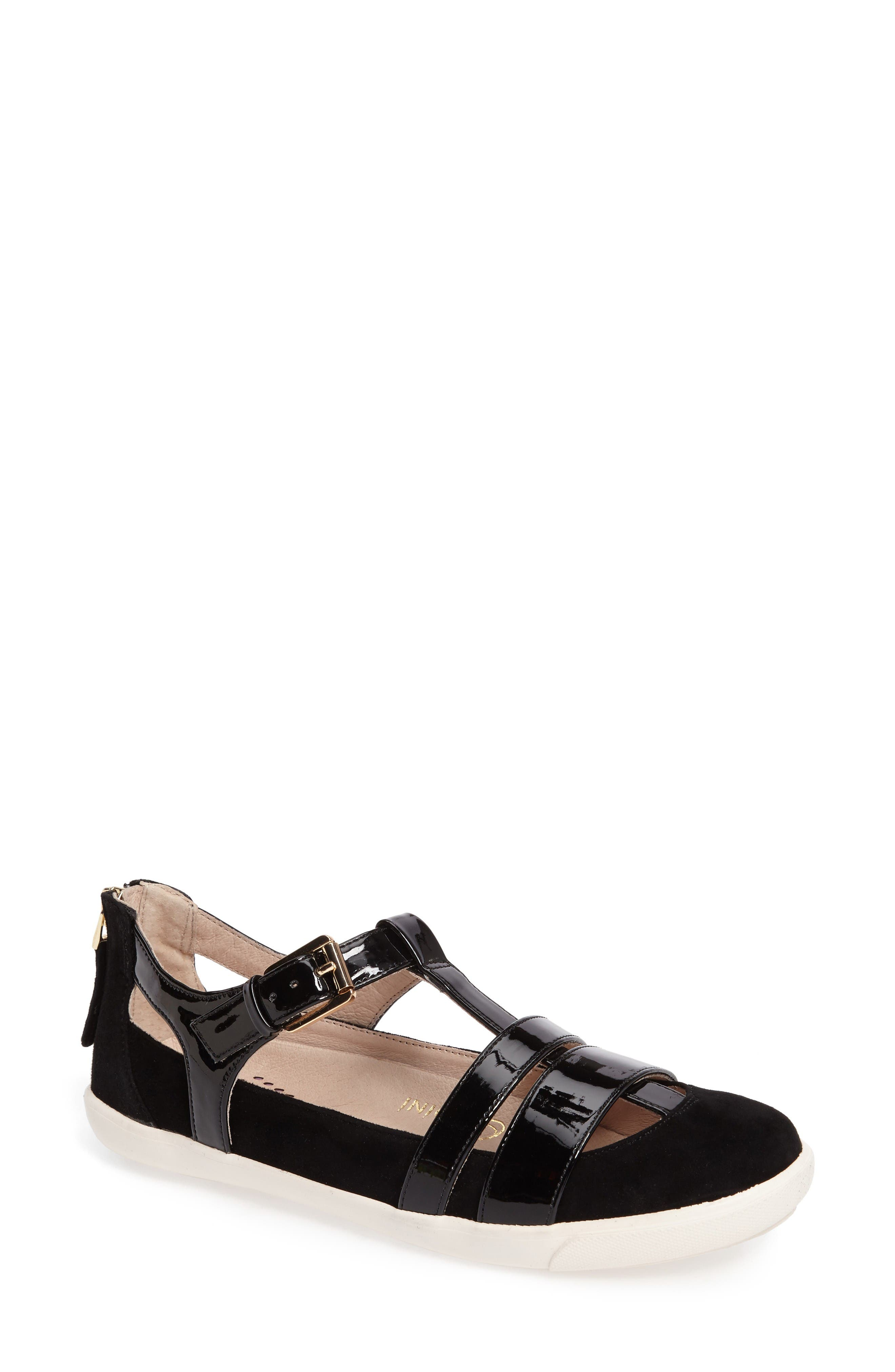 Iona Strappy Sneaker,                             Main thumbnail 1, color,                             Black Leather