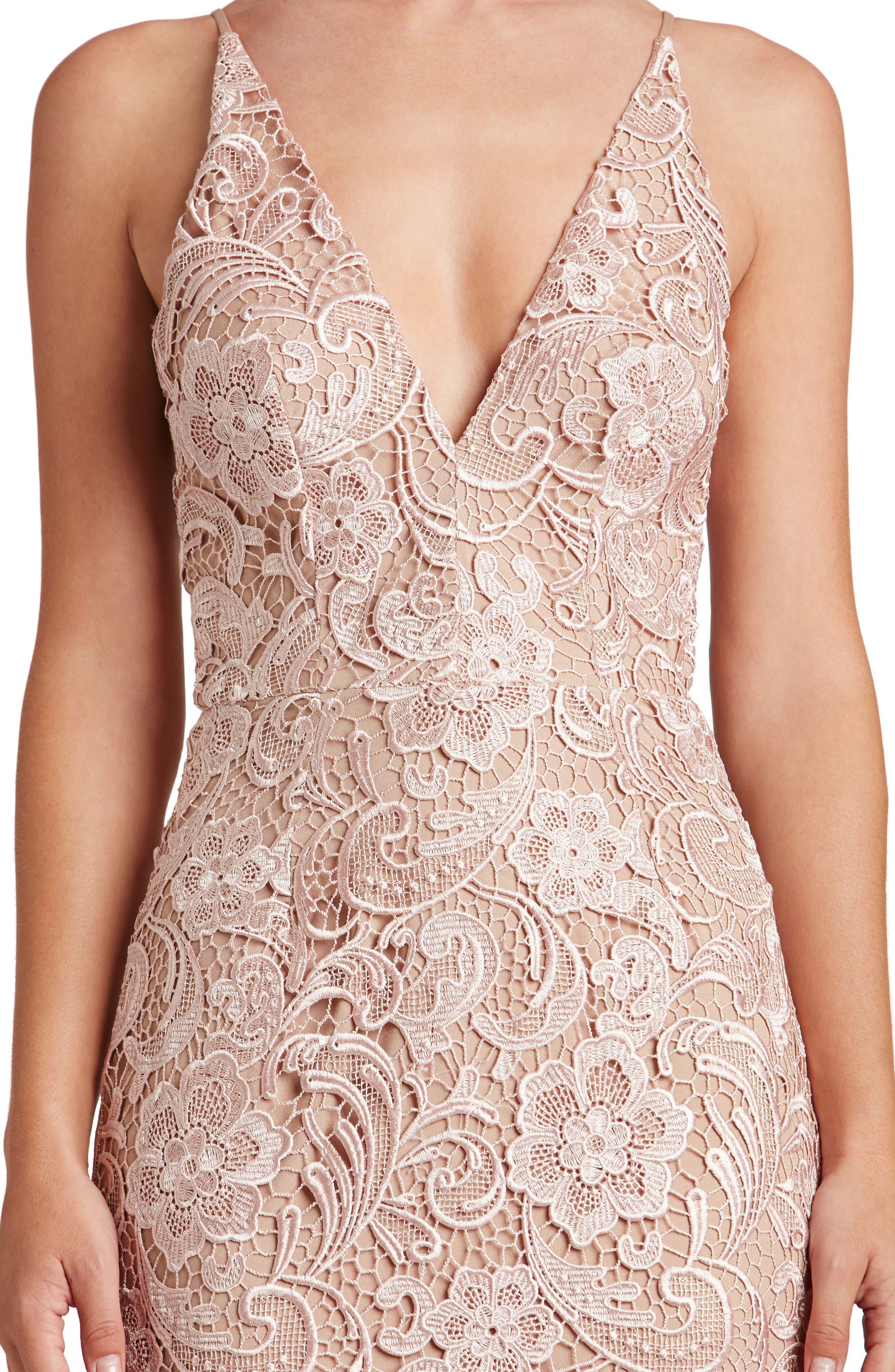 'Marie' Lace Midi Dress,                             Alternate thumbnail 4, color,                             Rose
