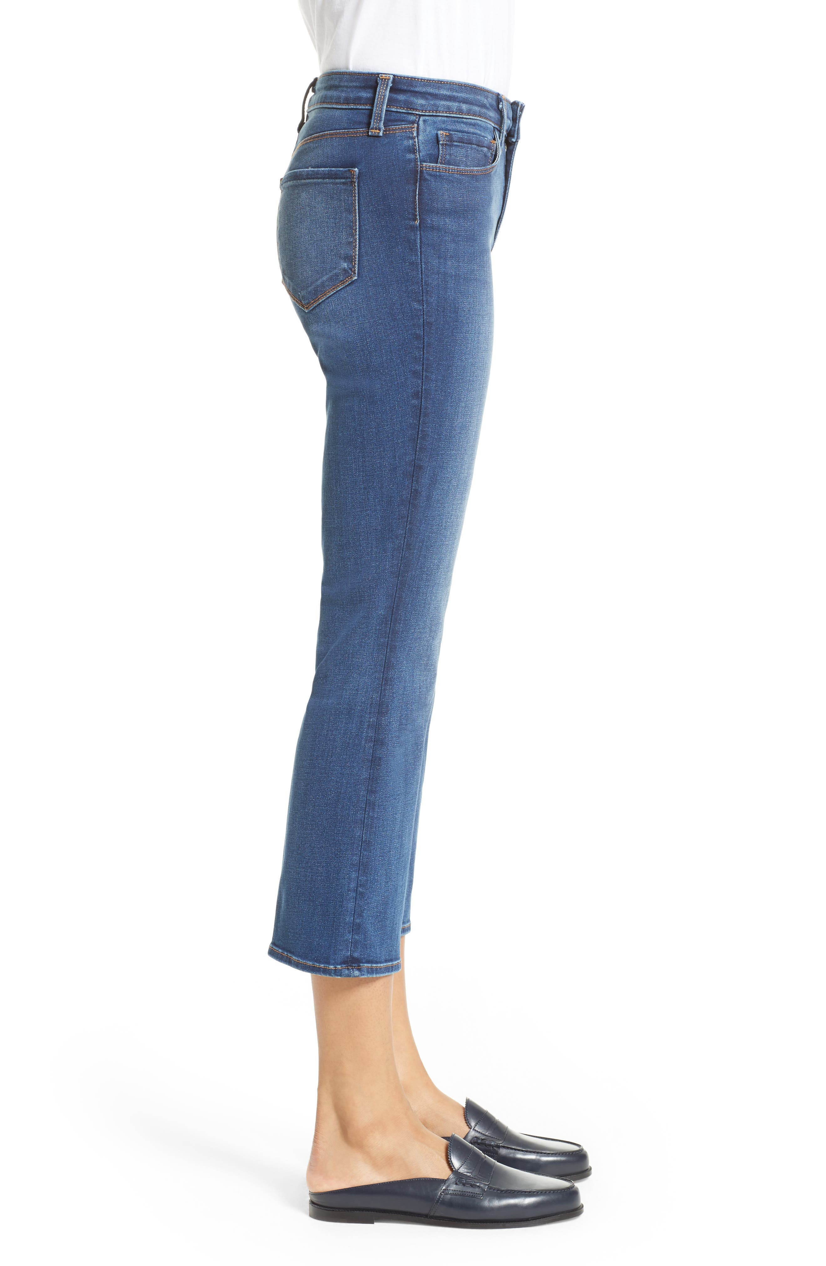 Crop Baby Flare Jeans,                             Alternate thumbnail 3, color,                             Azul