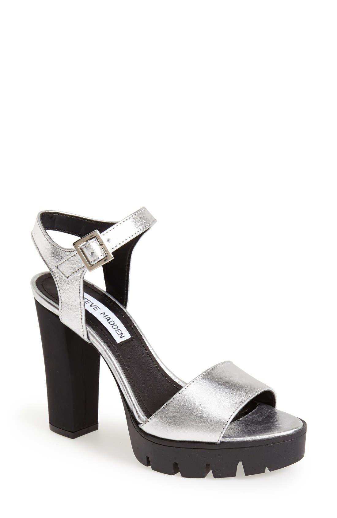 'Traviss' Sandal,                         Main,                         color, Silver Leather