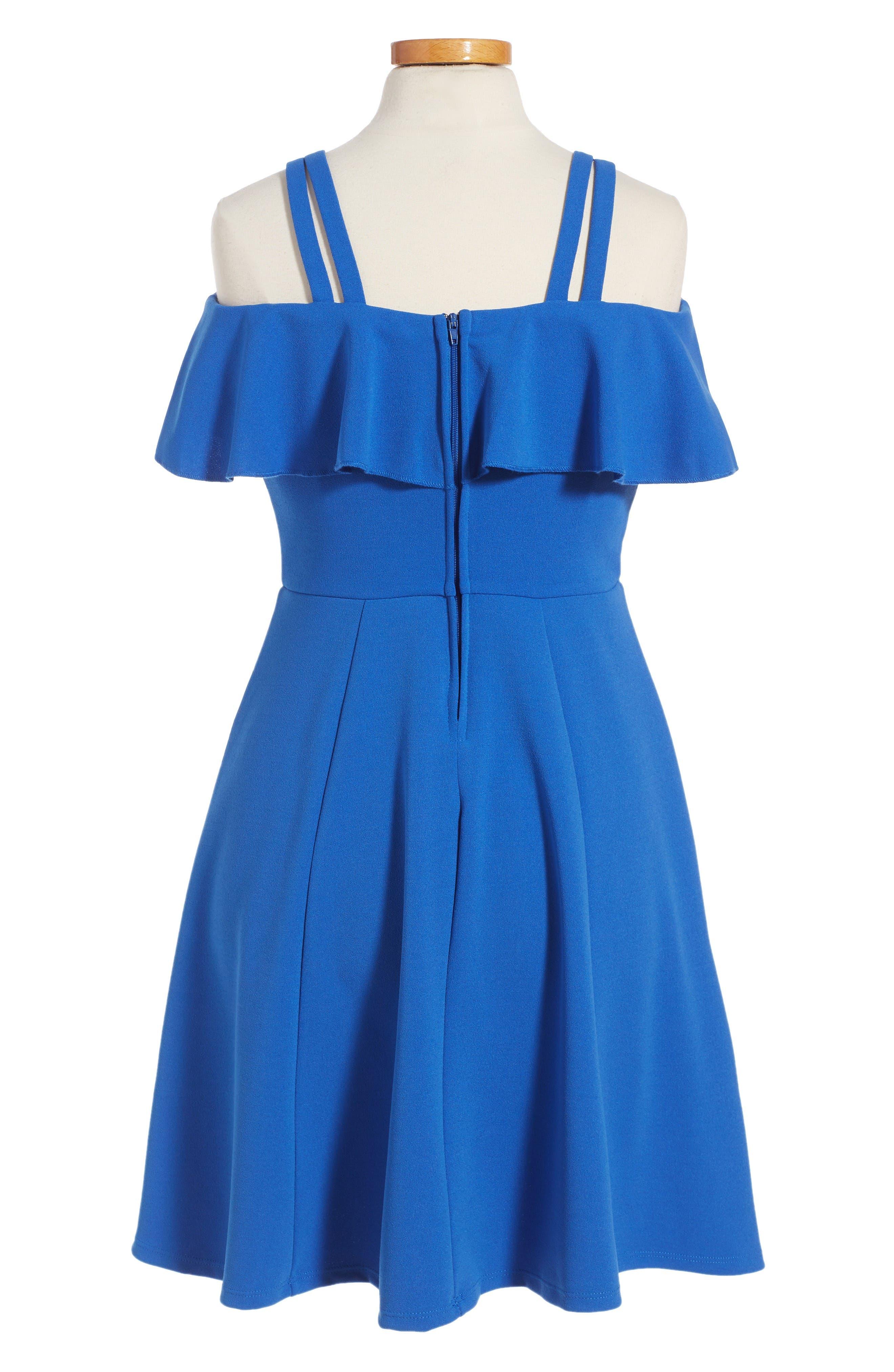 Off the Shoulder Ruffle Dress,                             Alternate thumbnail 2, color,                             Royal Blue