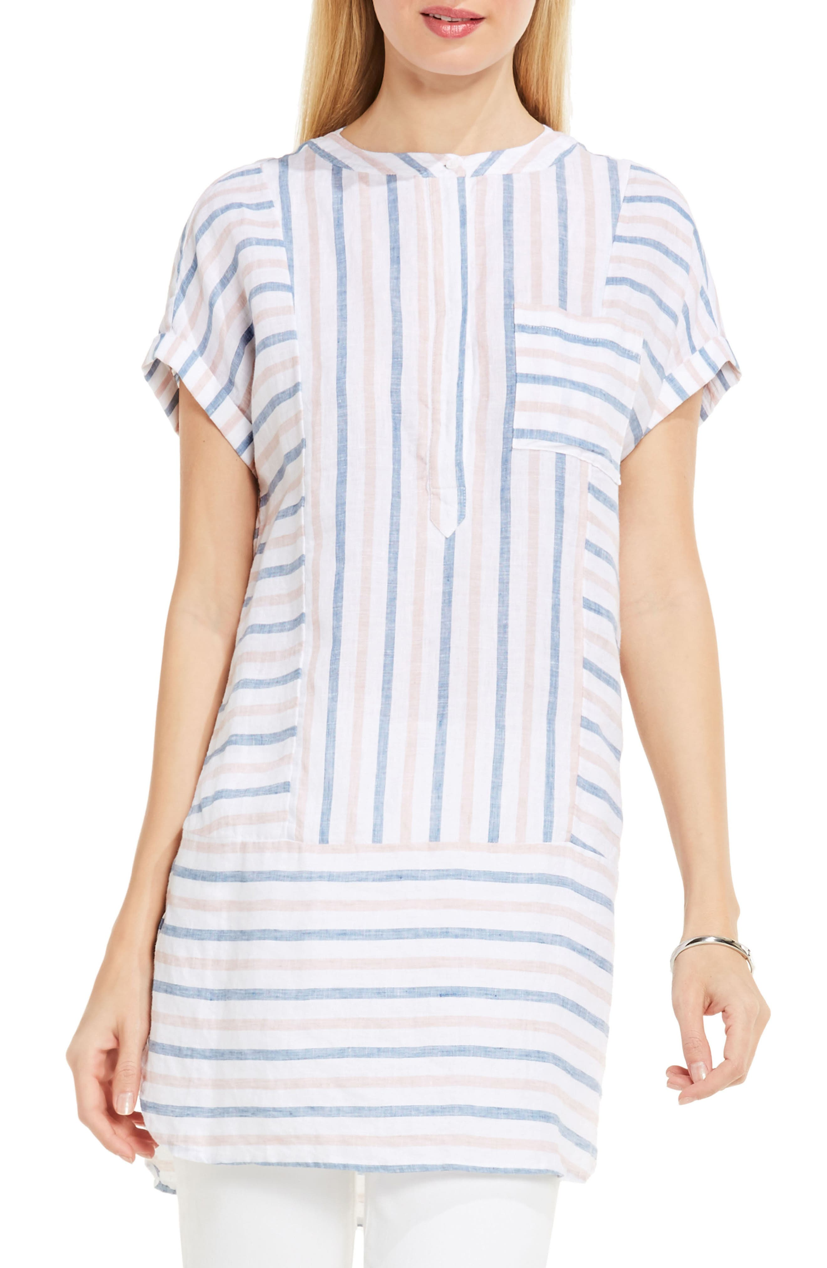Two by Vince Camuto Stripe Linen Tunic