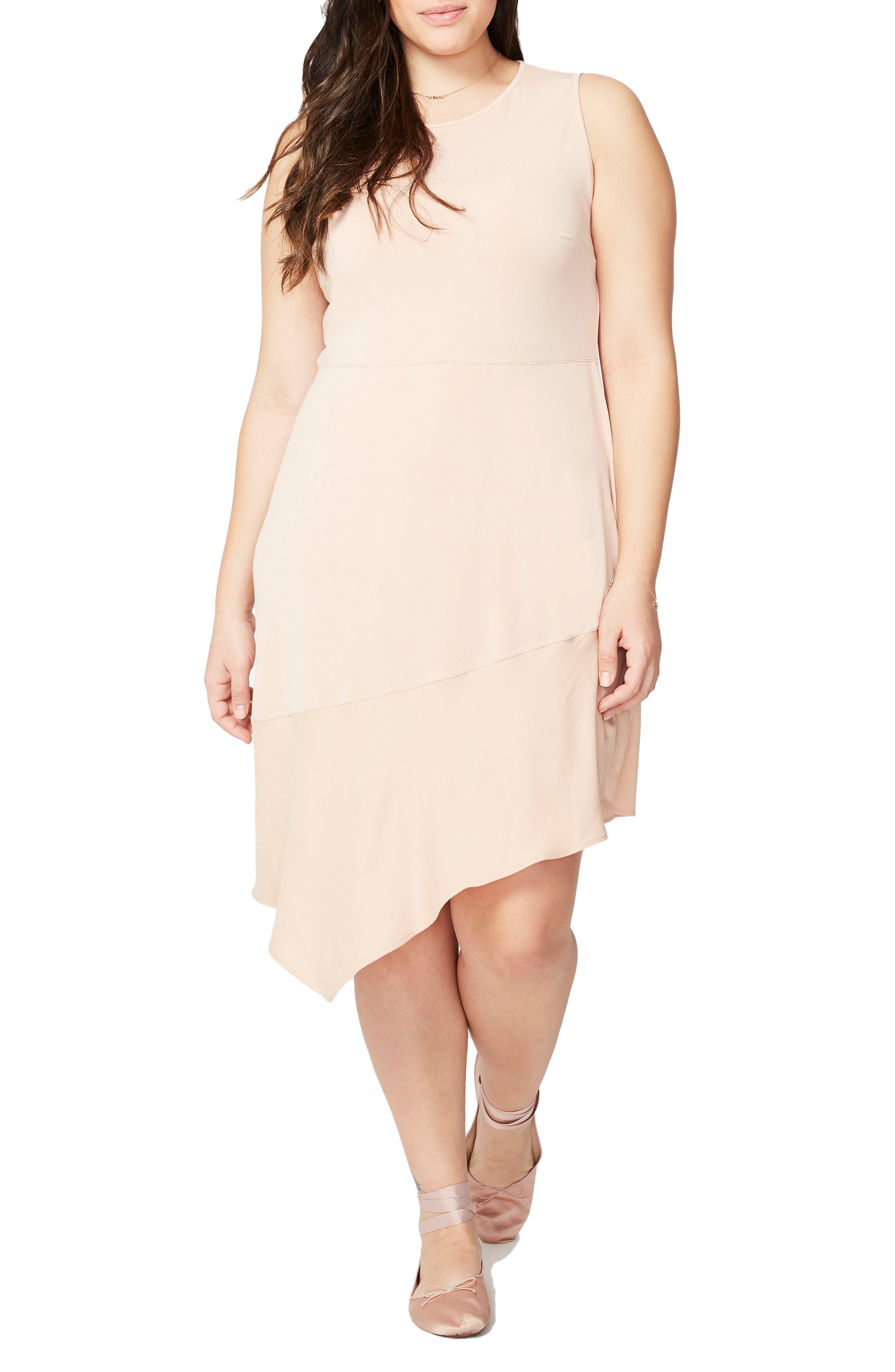 Asymmetrical Flounce Dress,                         Main,                         color, Pink Opal/ Pink Opal Combo
