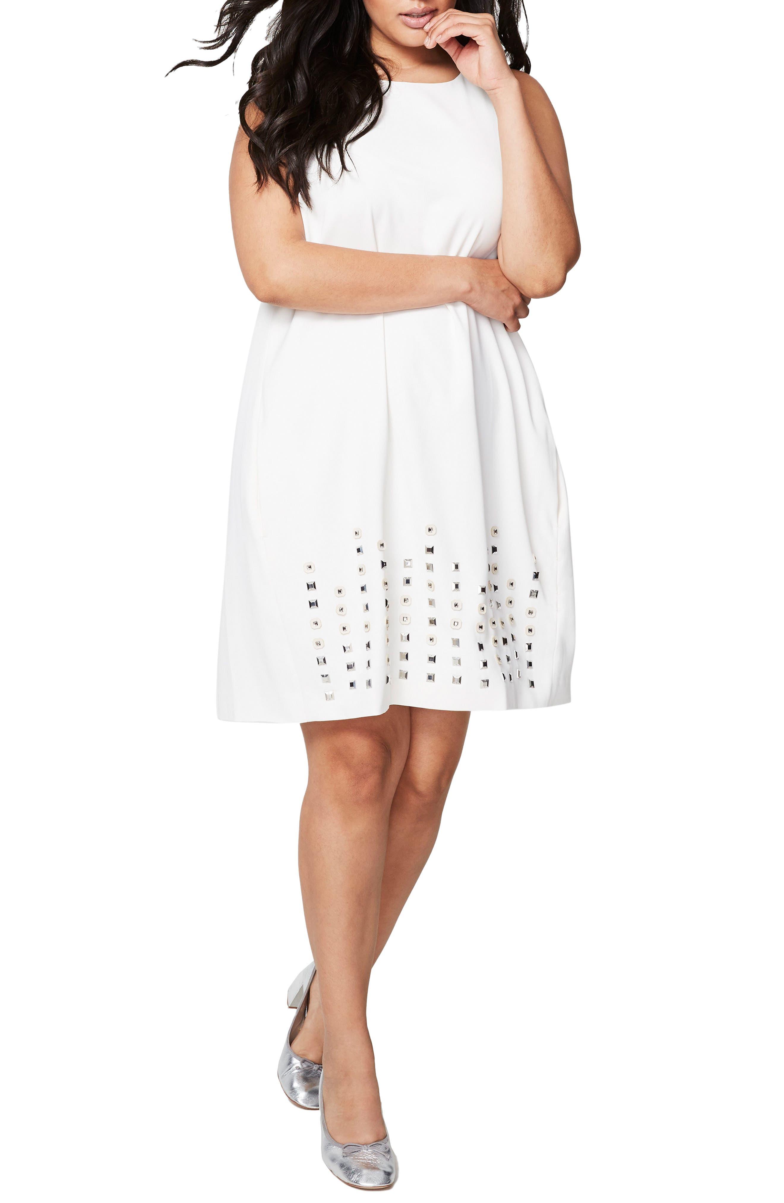 Alternate Image 1 Selected - RACHEL Rachel Roy Embellsihed Shift Dress (Plus Size)