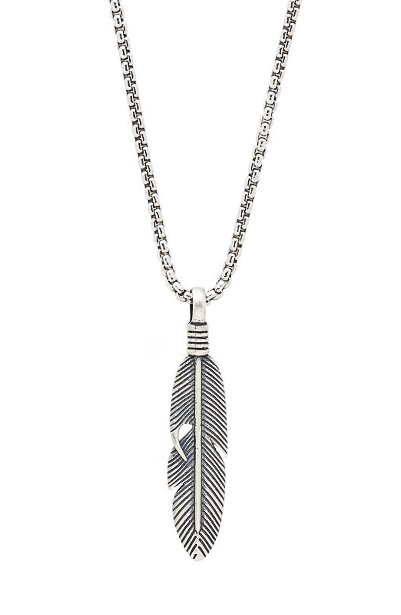 Feather Pendant Necklace,                         Main,                         color, Silver