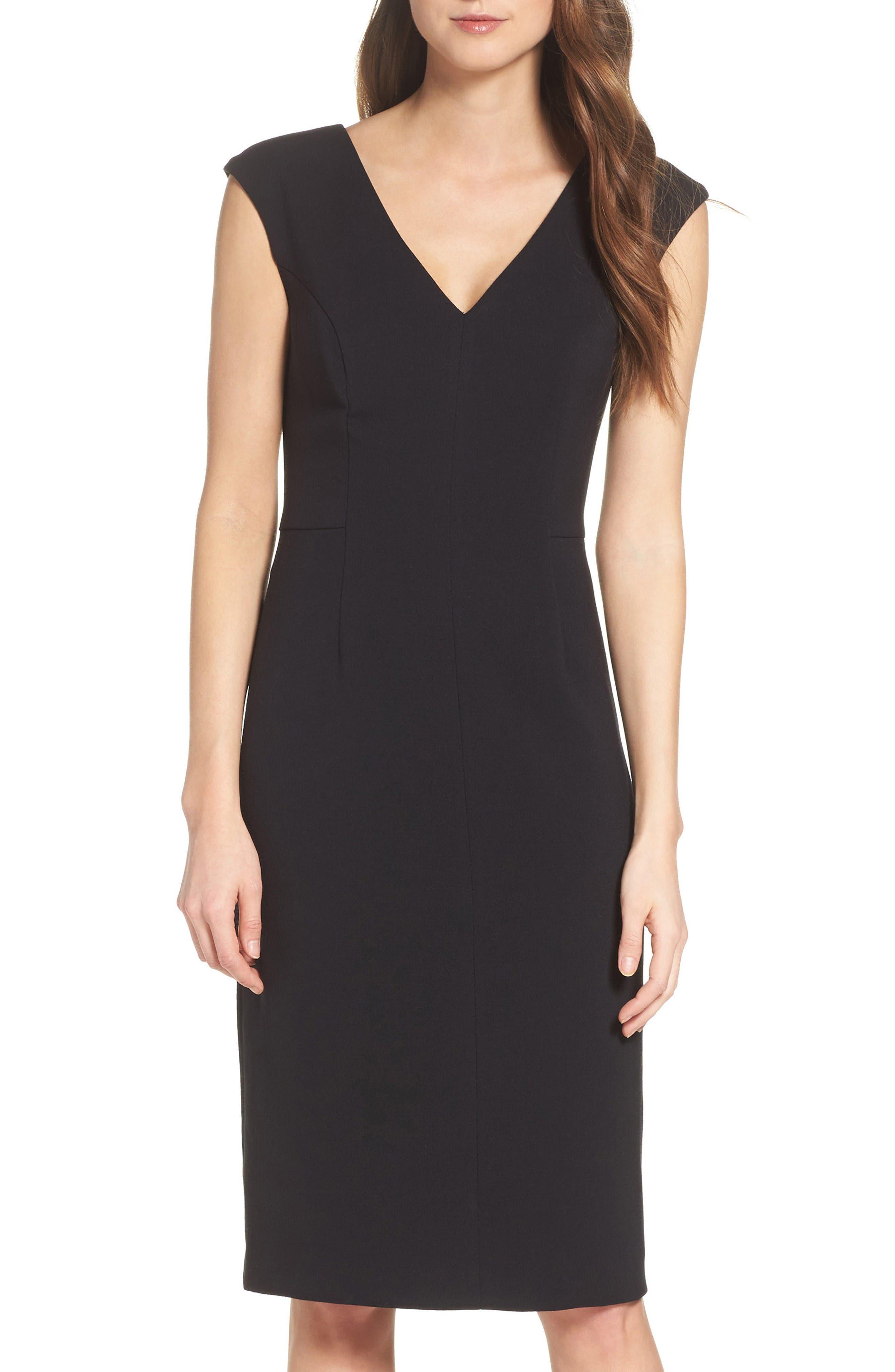 Crepe Sheath Dress,                             Alternate thumbnail 2, color,                             Black