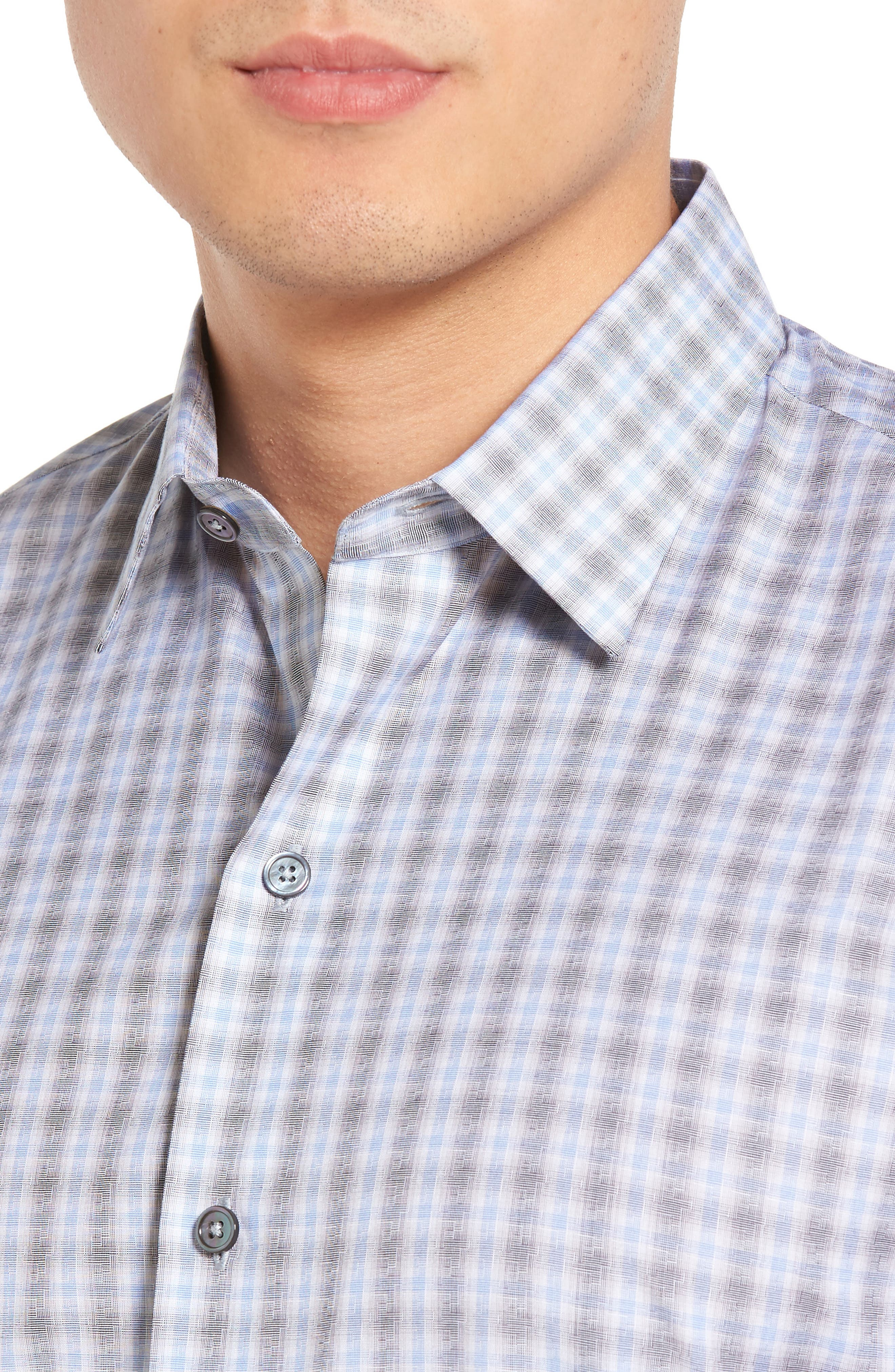 Cristiano Trim Fit Plaid Sport Shirt,                             Alternate thumbnail 4, color,                             Grey