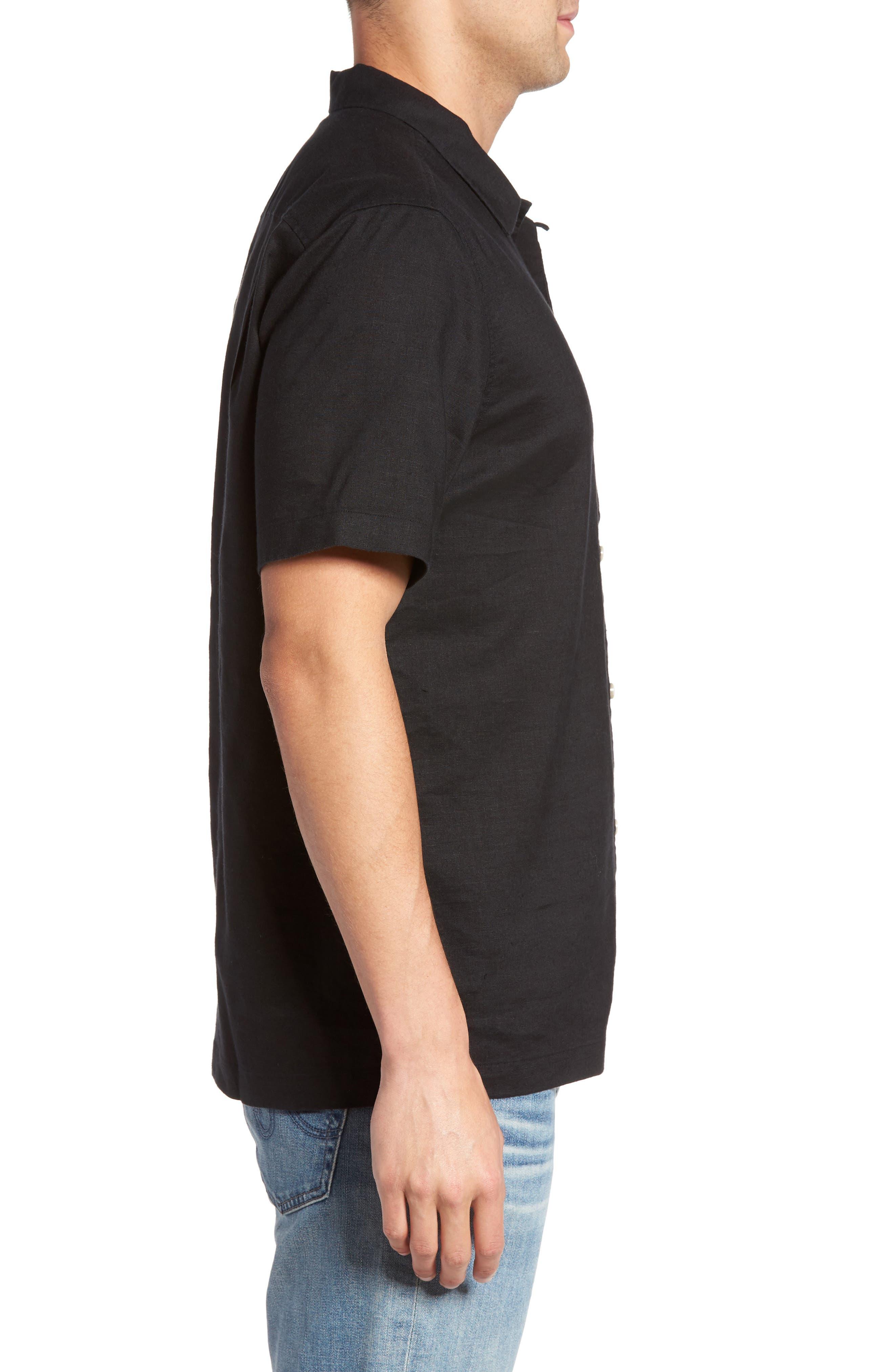 Monaco Tides Linen Blend Camp Shirt,                             Alternate thumbnail 3, color,                             Black
