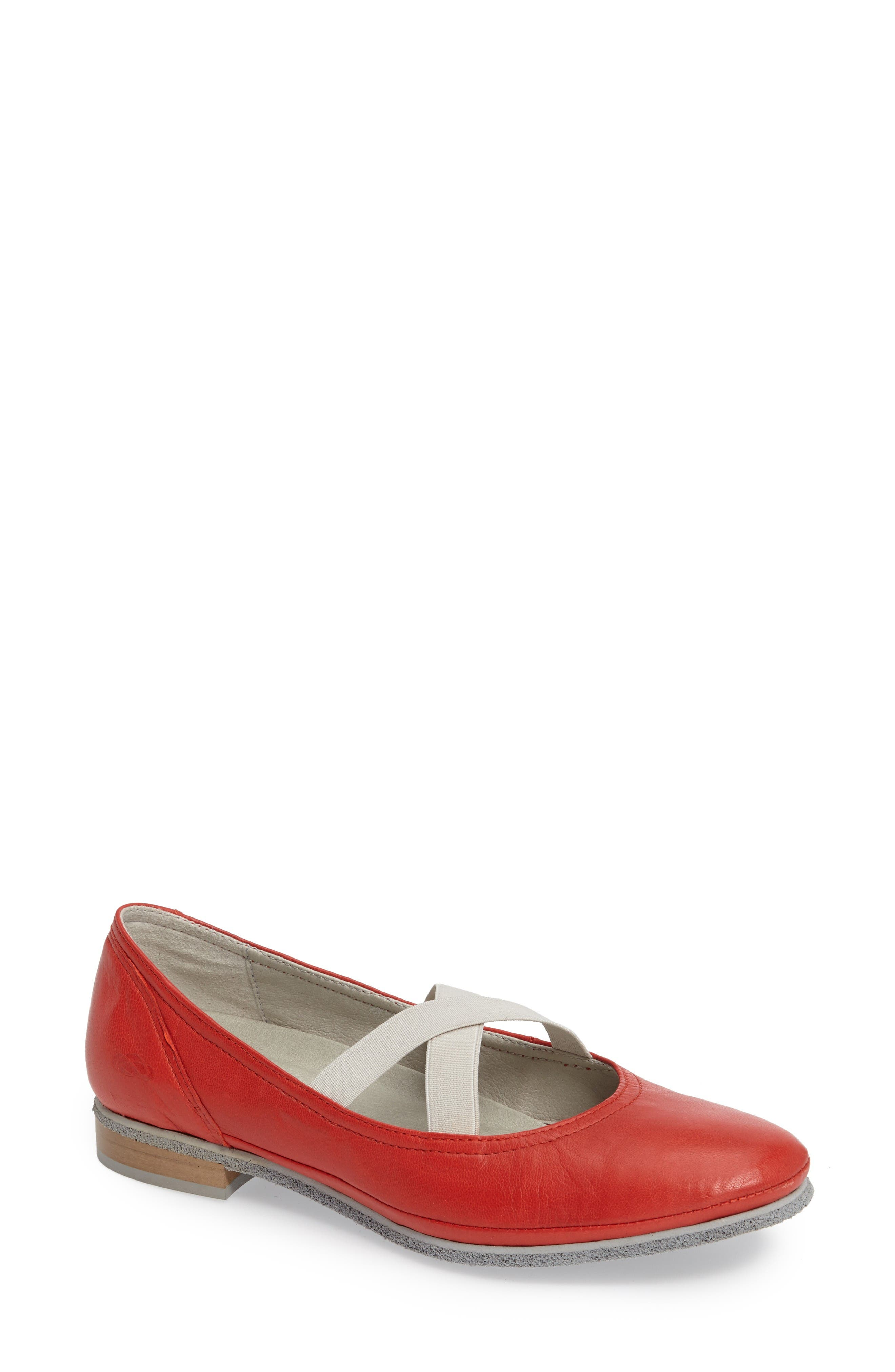 Ballet Strappy Flat,                             Main thumbnail 1, color,                             Red Leather
