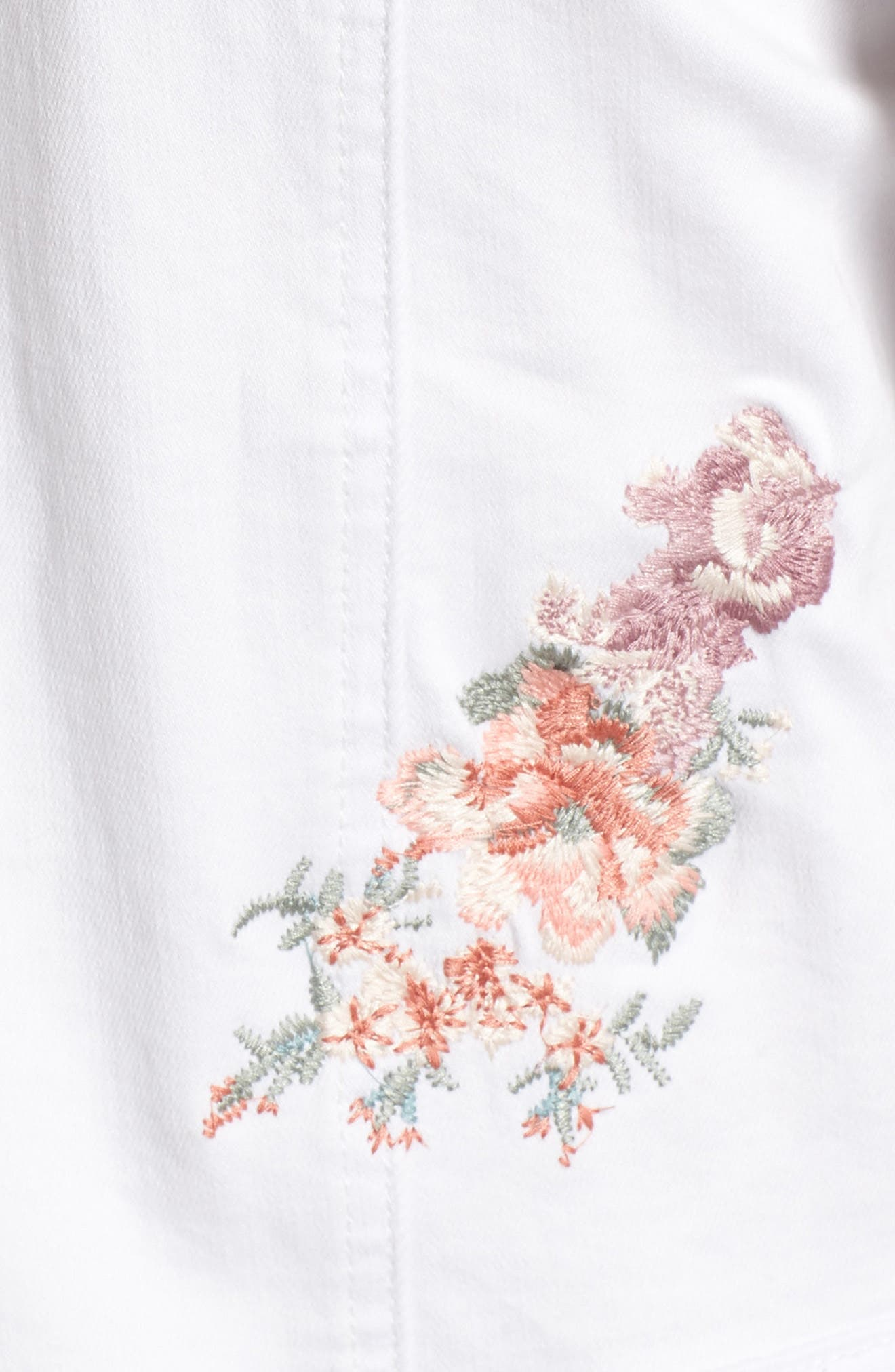 Alternate Image 5  - BILLY T Embroidered White Denim Jacket