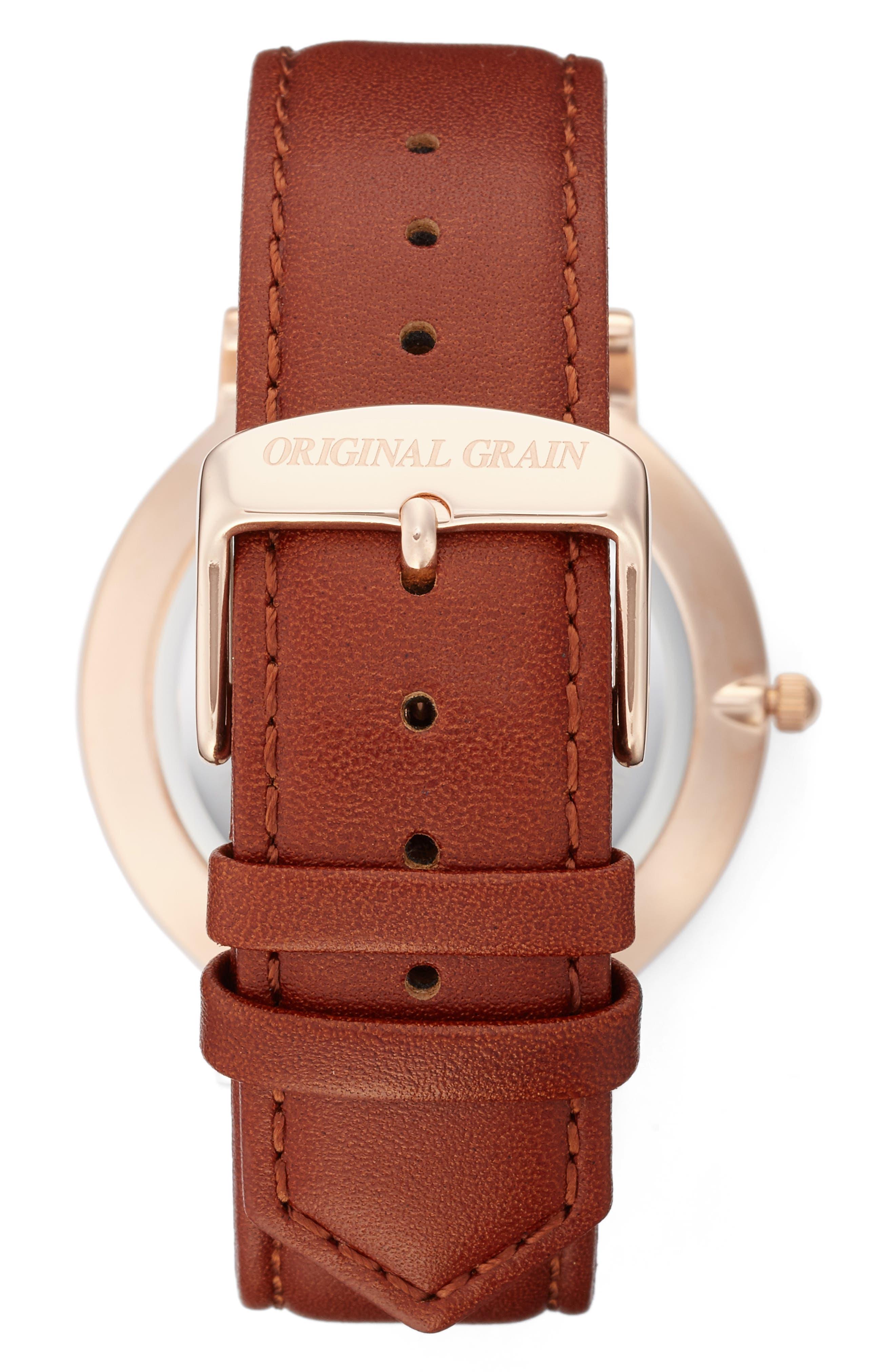 Alternate Image 2  - Original Grain Minimalist Leather Strap Watch, 40mm