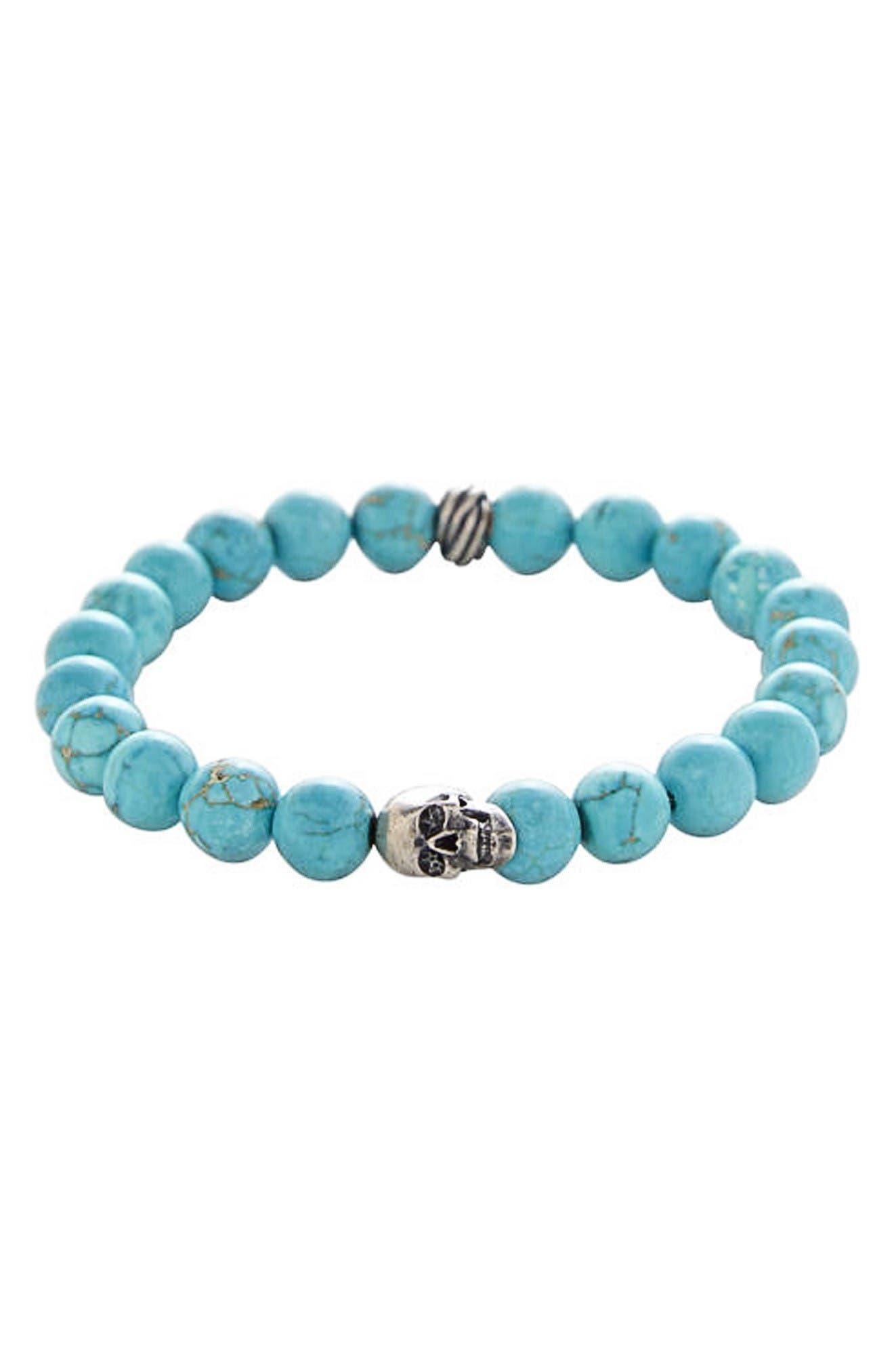 Stone Bead Stretch Bracelet,                         Main,                         color, Blue