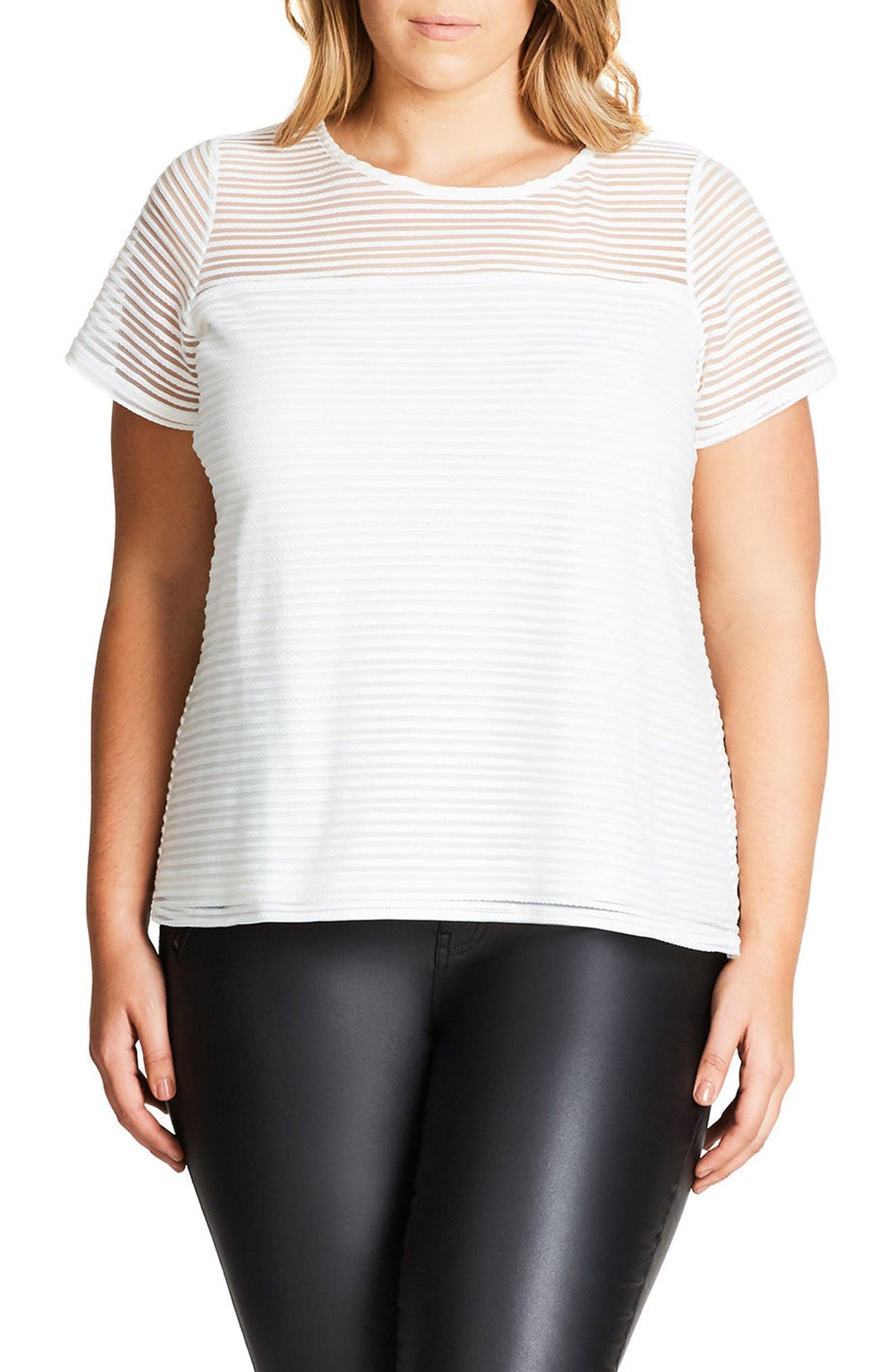 Main Image - City Chic Shadow Heart Top (Plus Size)