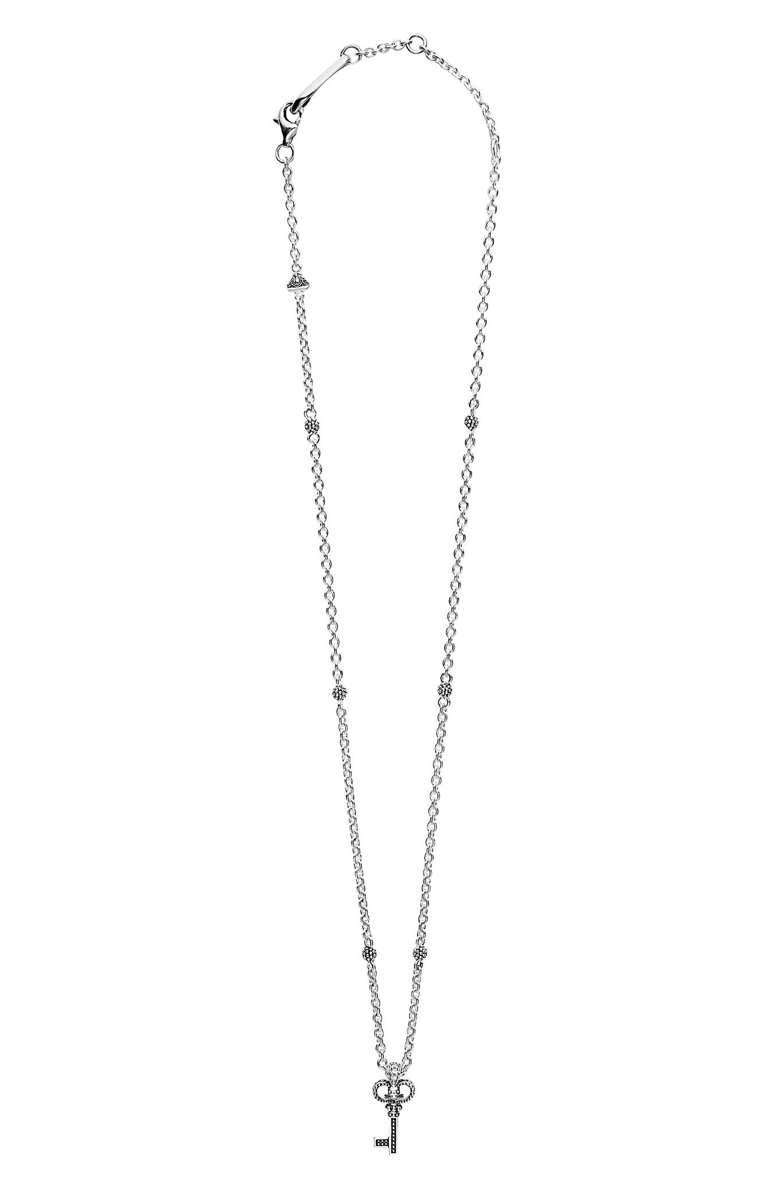 Beloved Diamond Key Pendant Necklace,                         Main,                         color, Silver