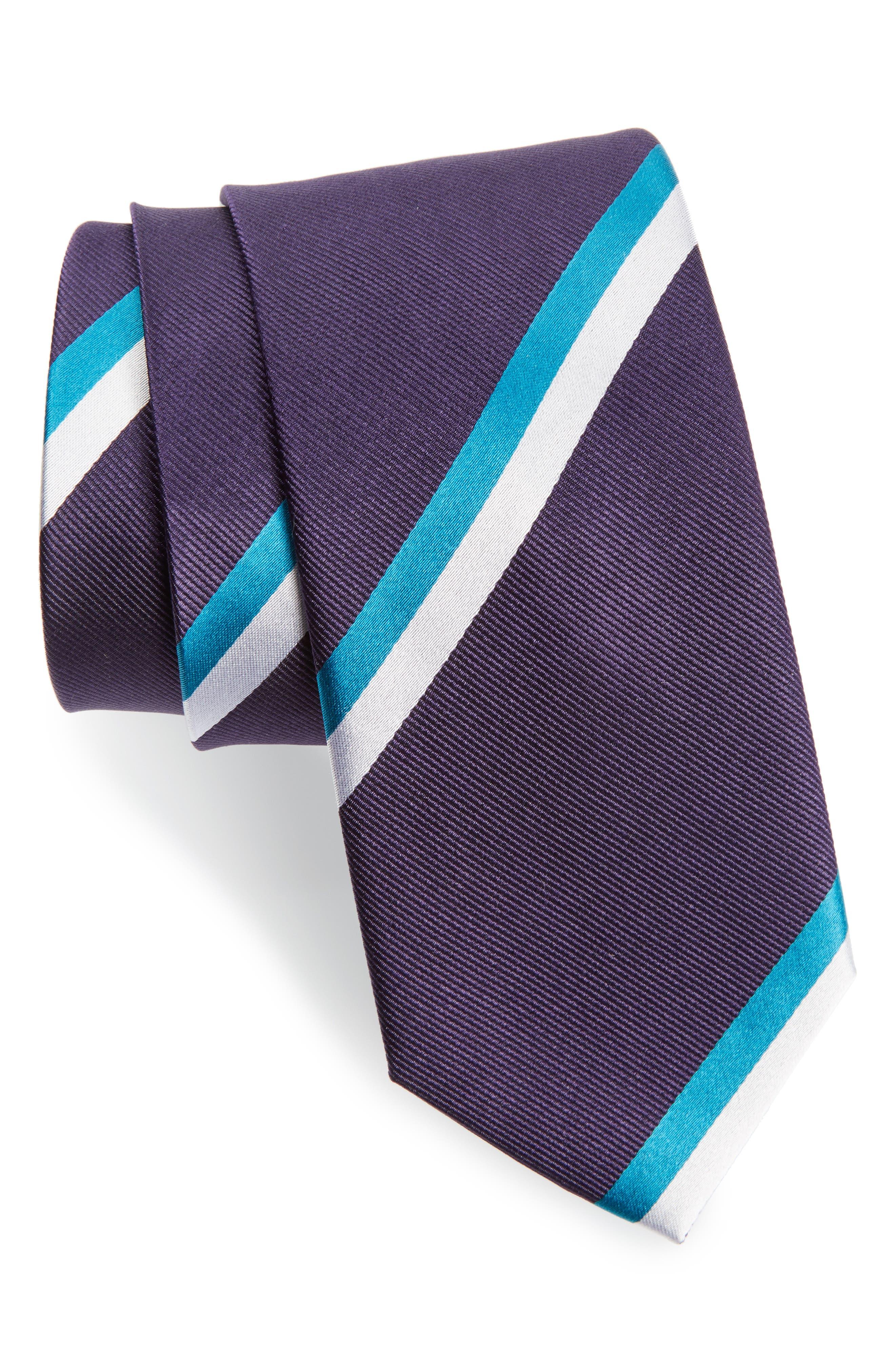Ad Stripe Silk Tie,                             Main thumbnail 1, color,                             Eggplant