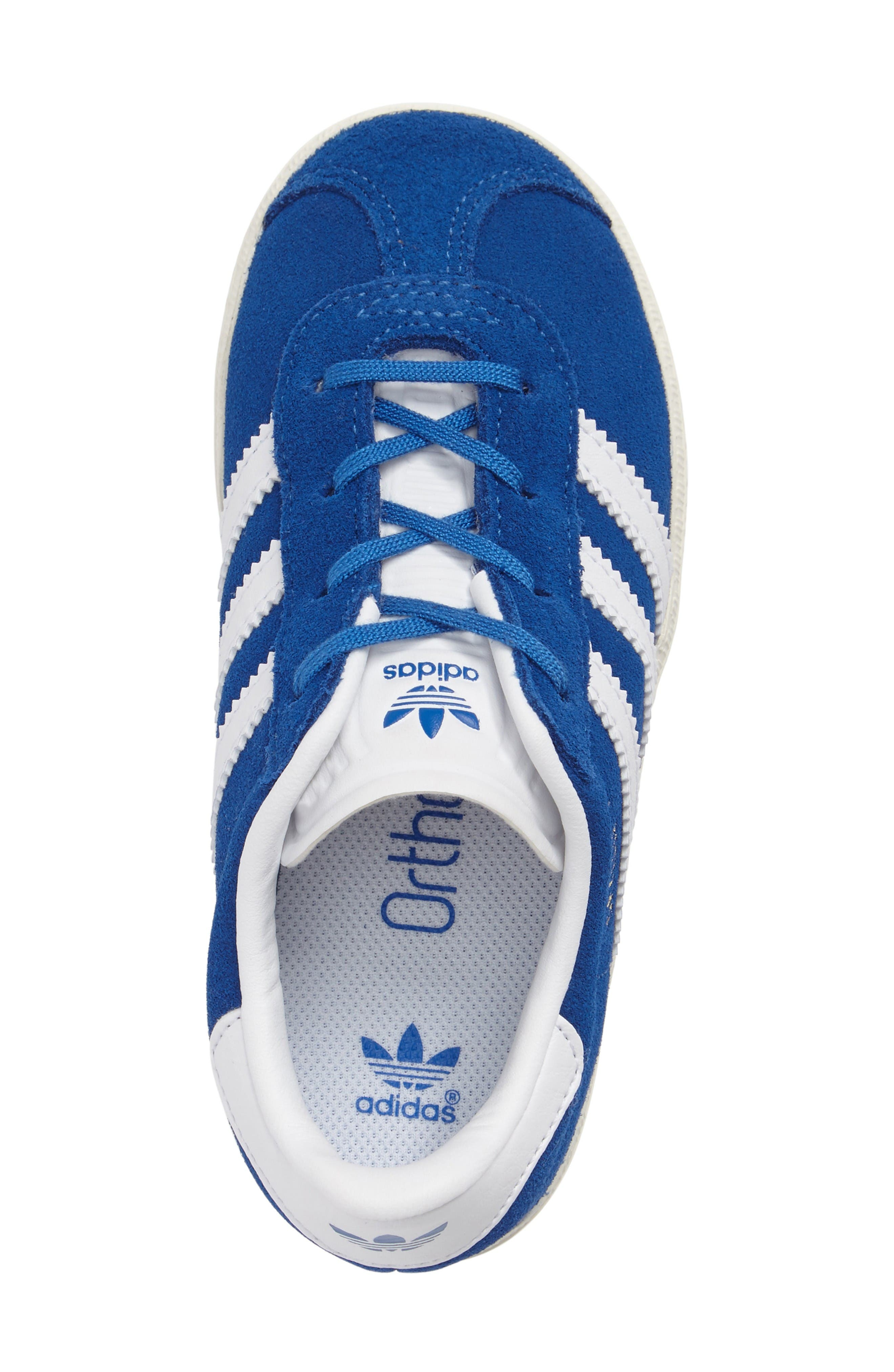Gazelle Sneaker,                             Alternate thumbnail 5, color,                             Blue/ White/ Gold Metallic