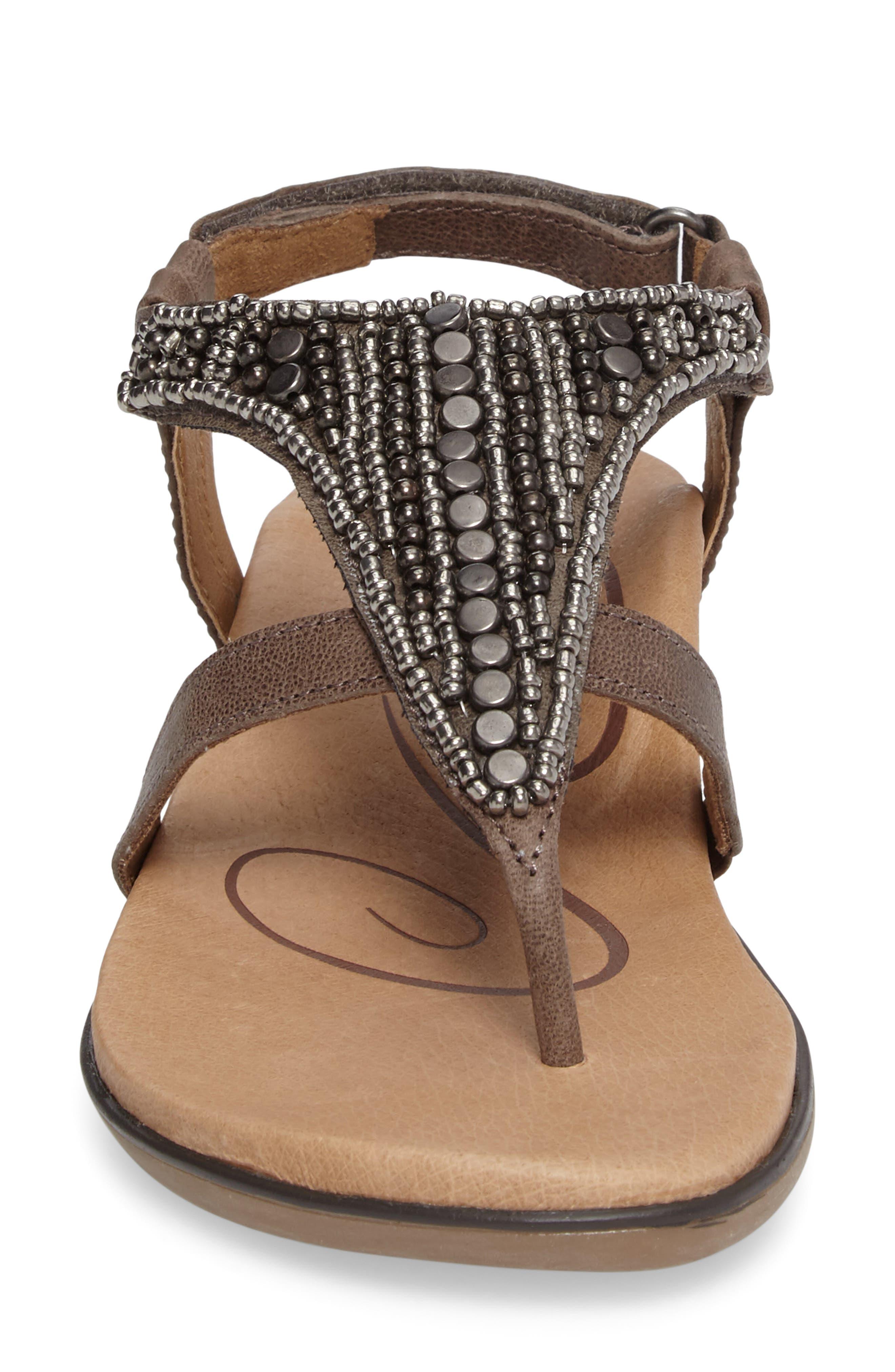 Sheila Embellished Sandal,                             Alternate thumbnail 4, color,                             Stone Leather