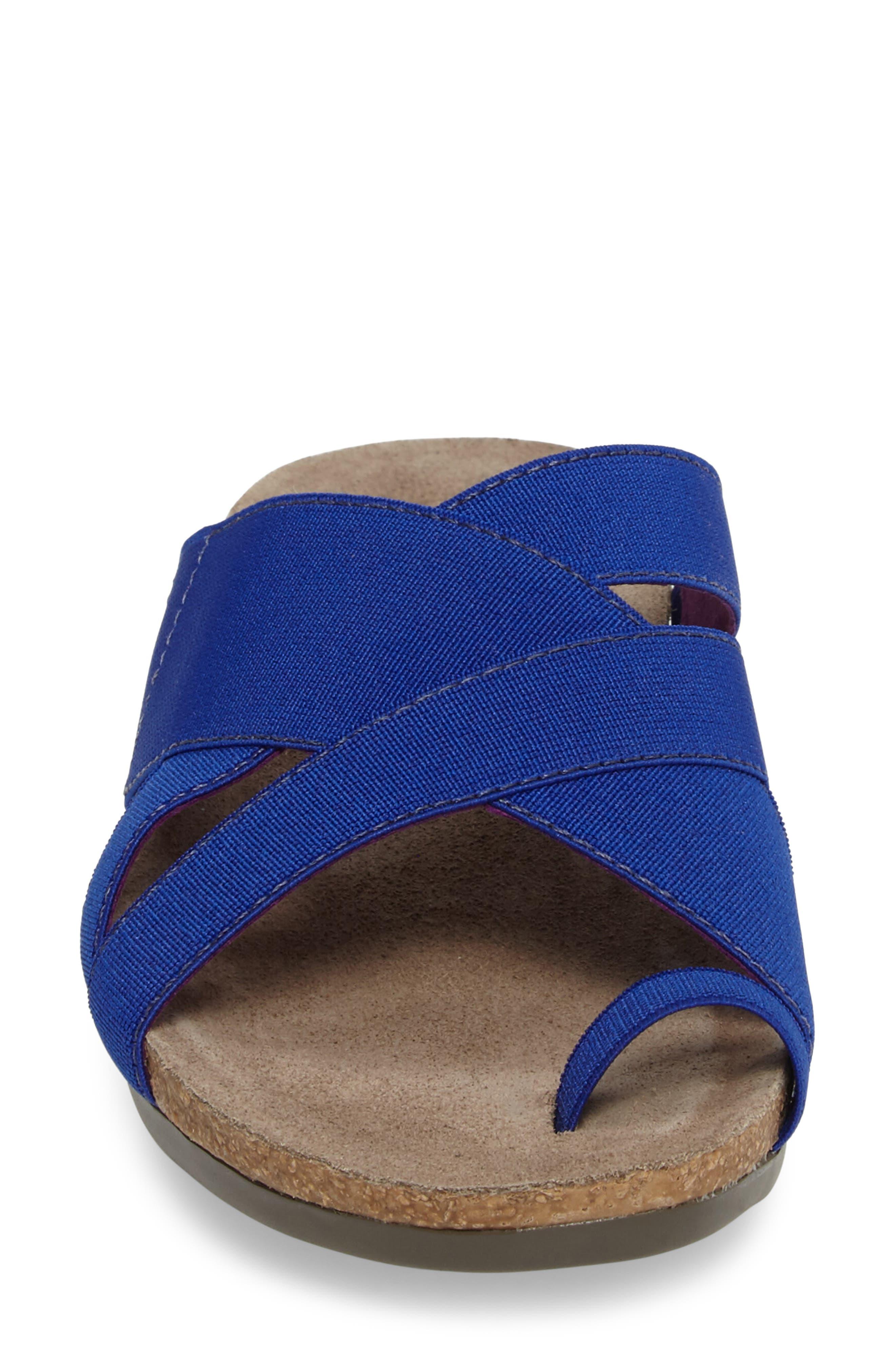 Delphi Slide Sandal,                             Alternate thumbnail 4, color,                             Blue Fabric