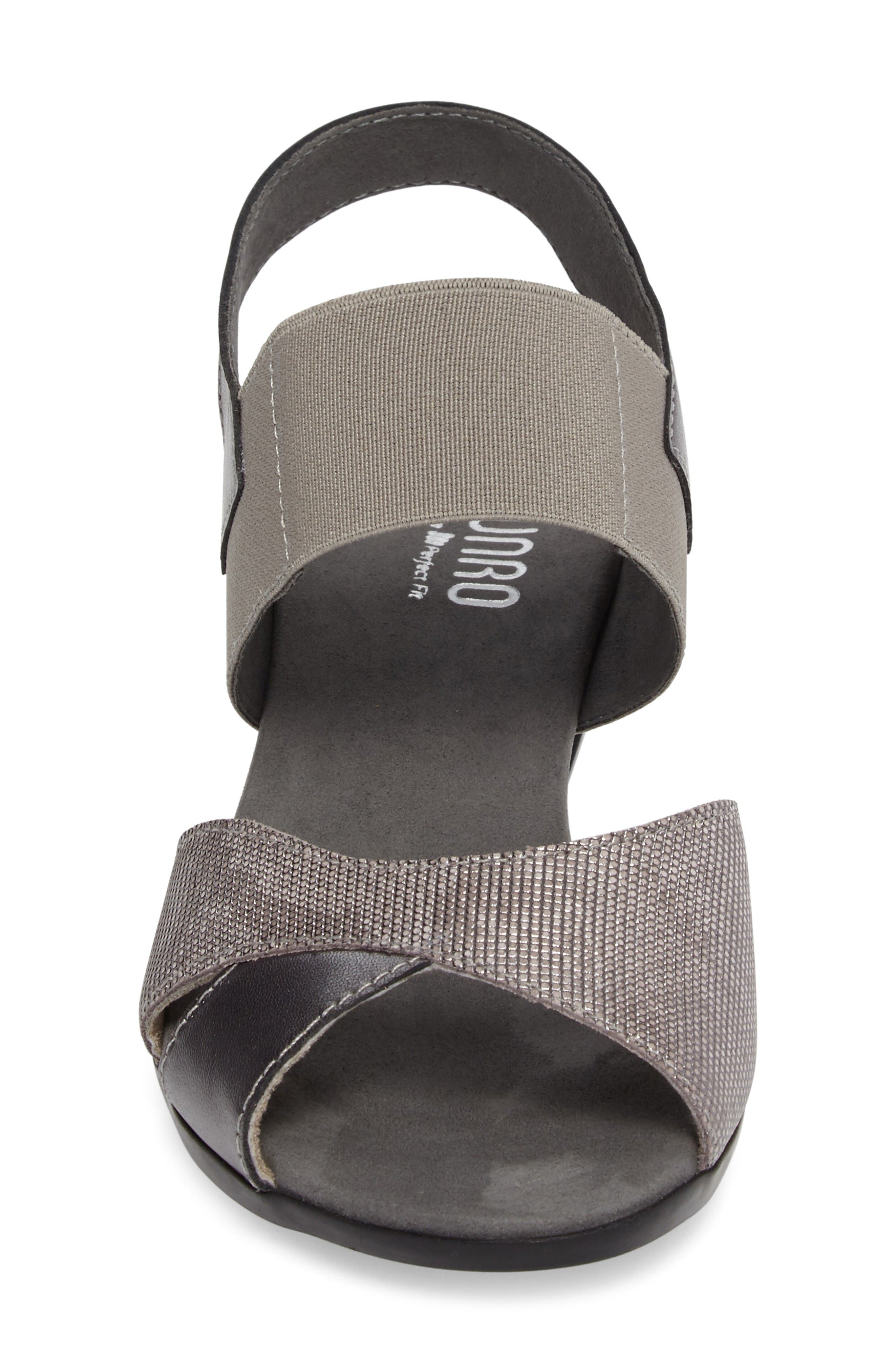 Darling Mixed Finish Slingback Sandal,                             Alternate thumbnail 4, color,                             Pewter Leather