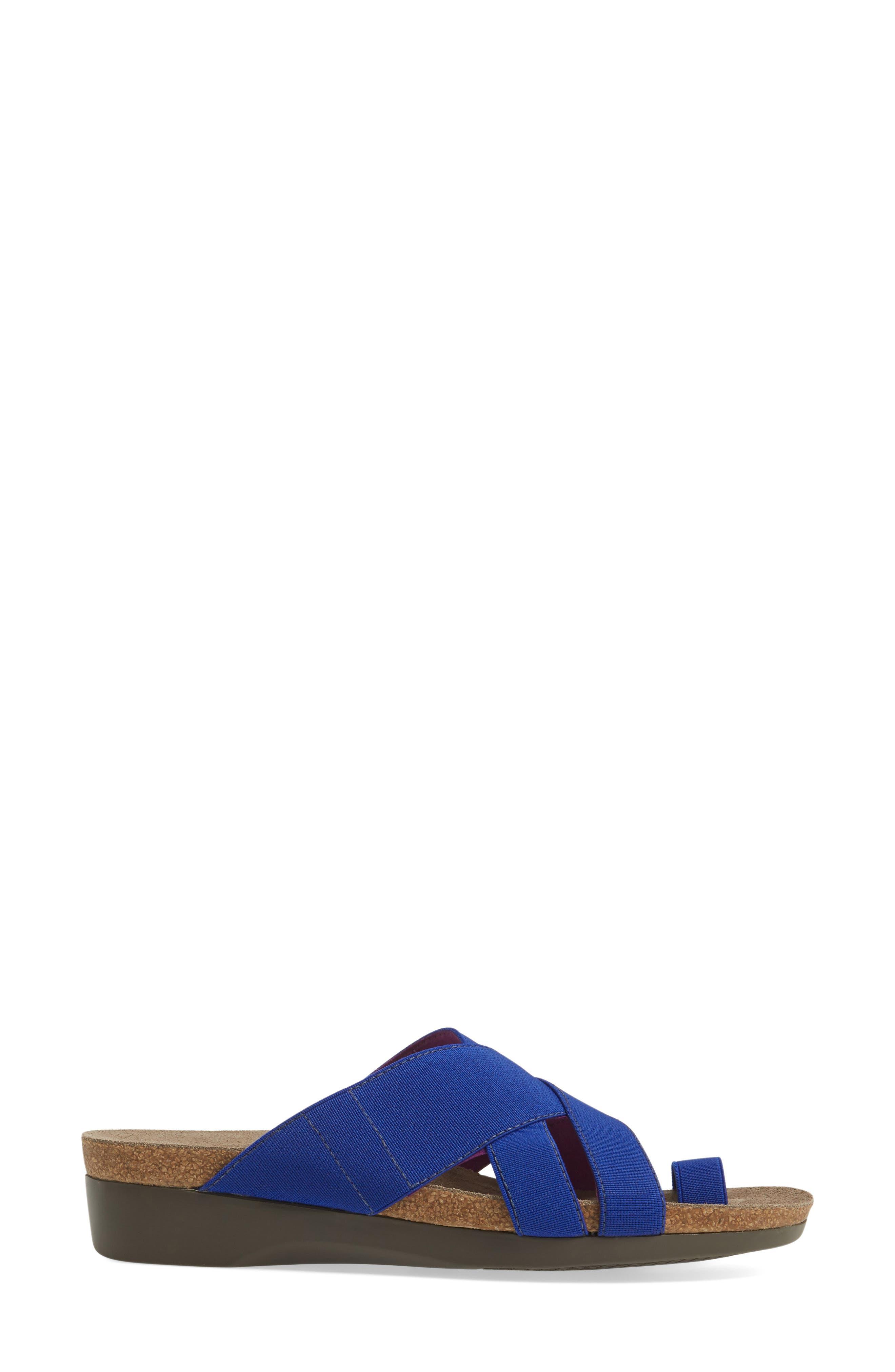 Delphi Slide Sandal,                             Alternate thumbnail 3, color,                             Blue Fabric