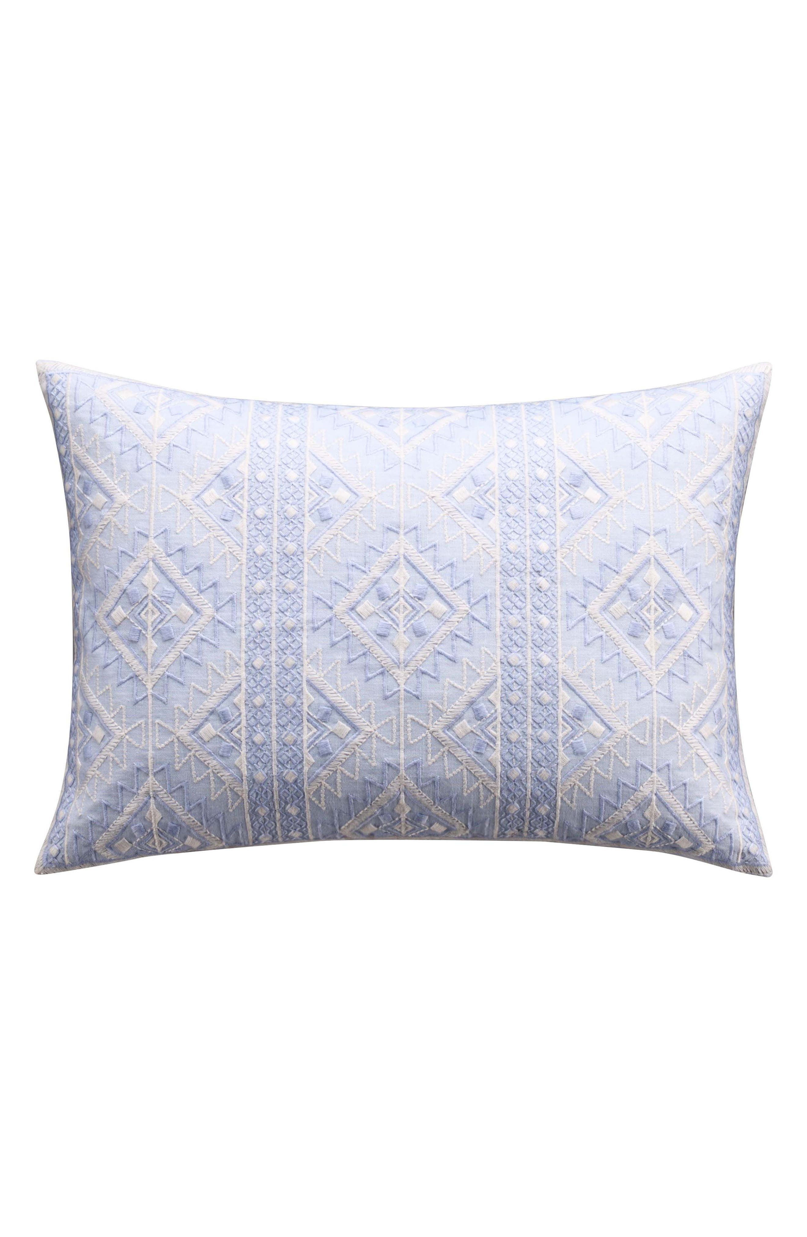 Geometric Embroidered Accent Pillow,                         Main,                         color, Blue