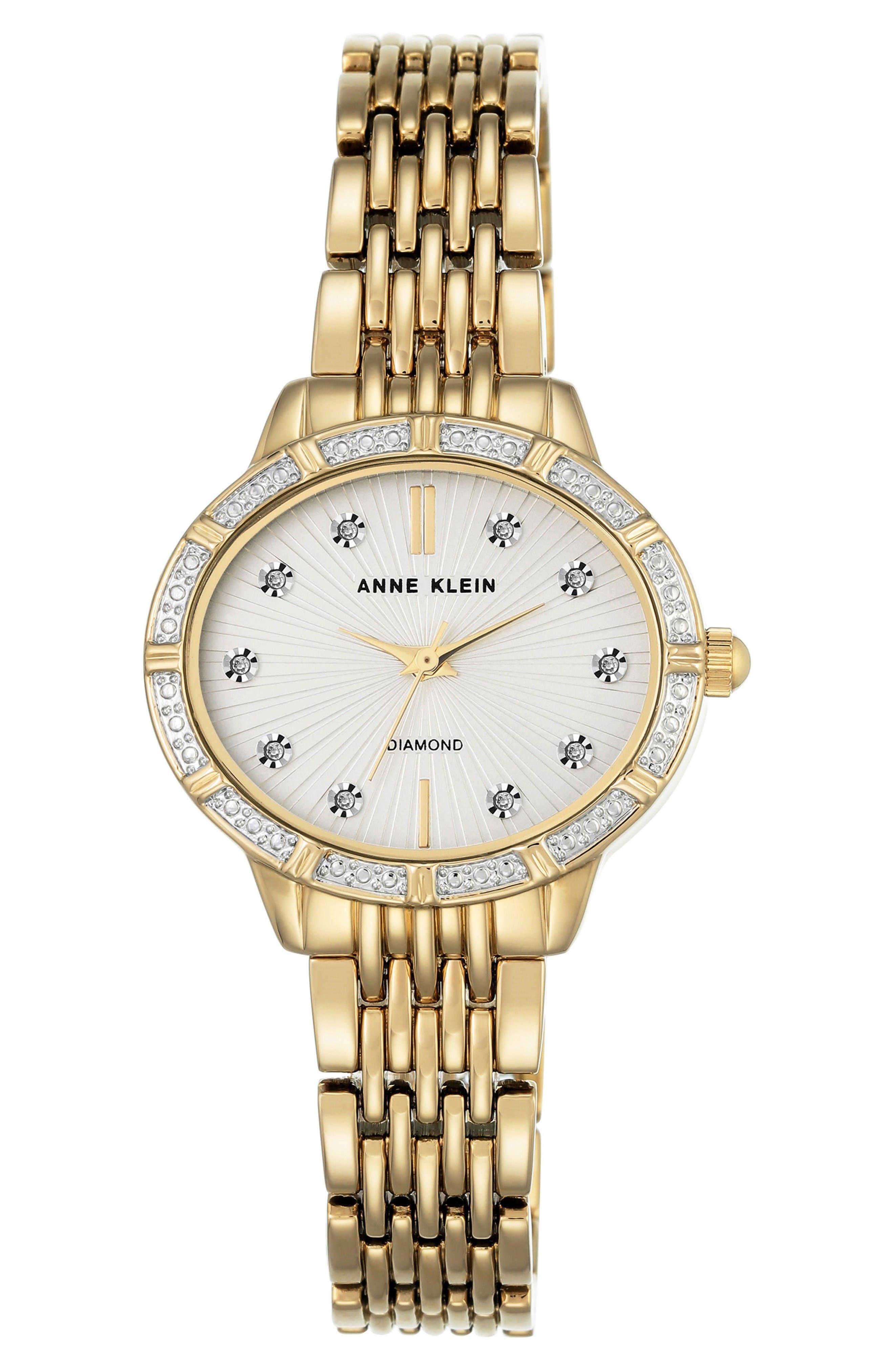 Oval Diamond Bracelet Watch, 28mm,                             Main thumbnail 1, color,                             Gold/ White/ Gold
