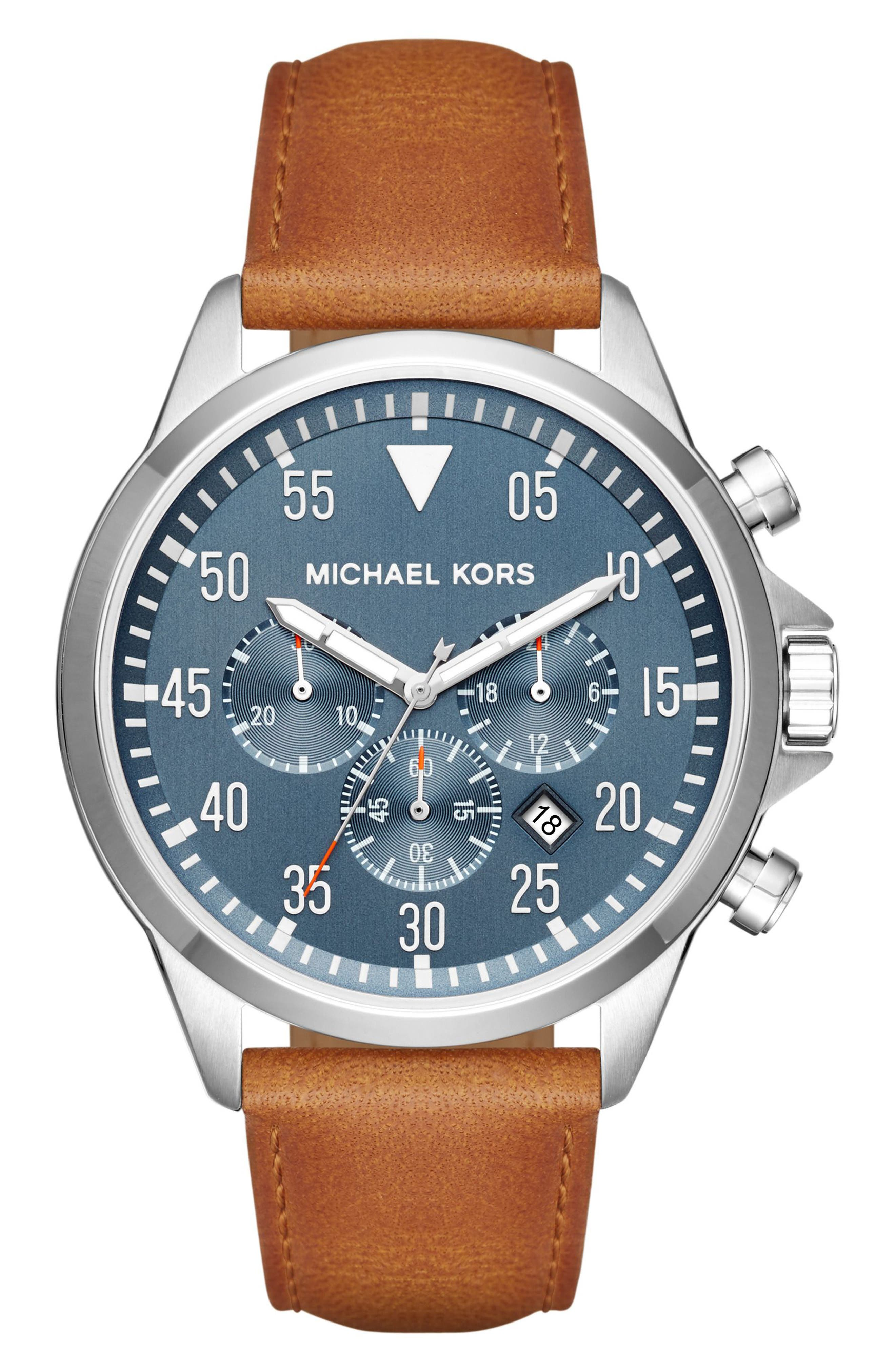 'Gage' Chronograph Leather Strap Watch, 45mm,                         Main,                         color, Brown/ Blue/ Silver